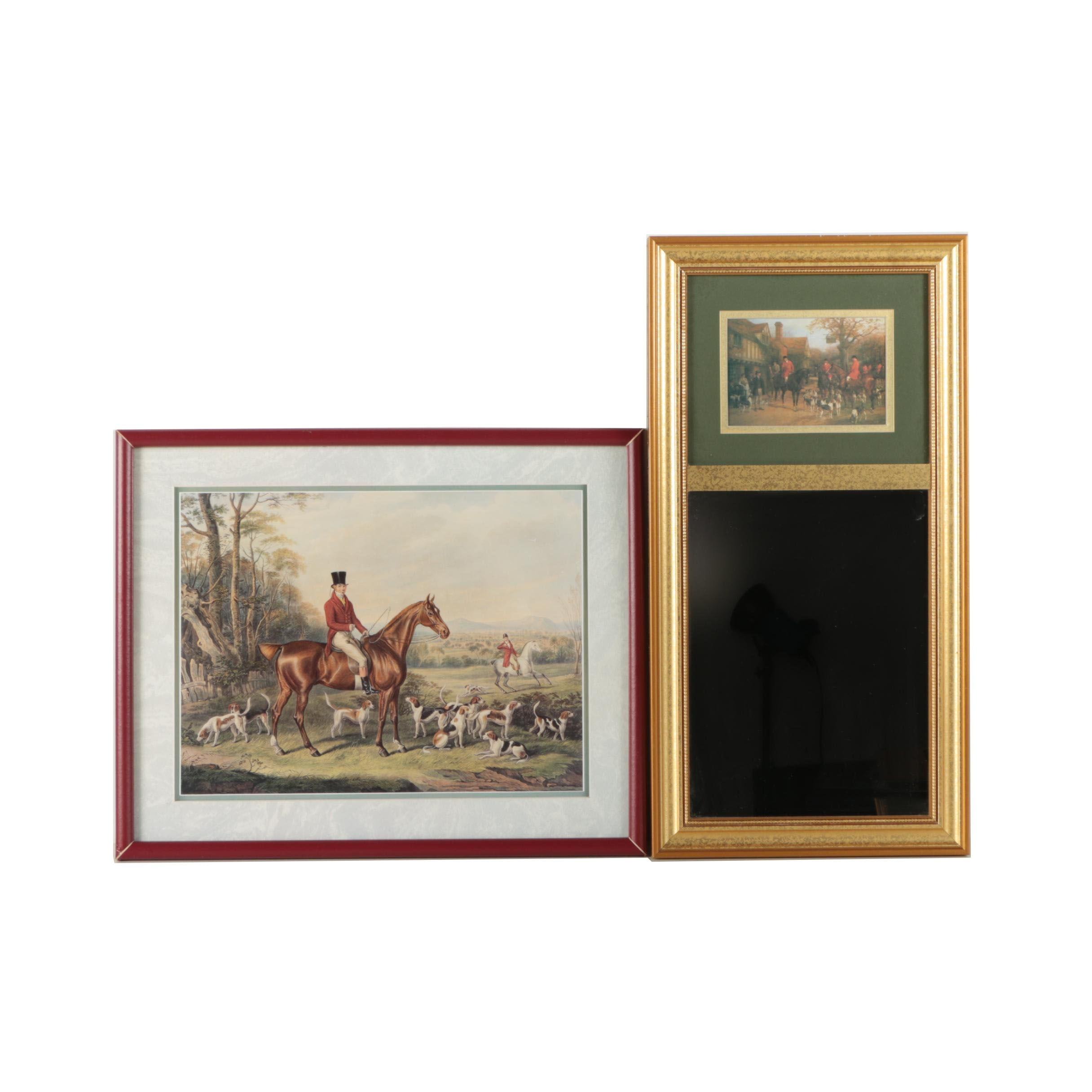 Trumeau Mirror and Offset Lithograph with Hunt Scenes