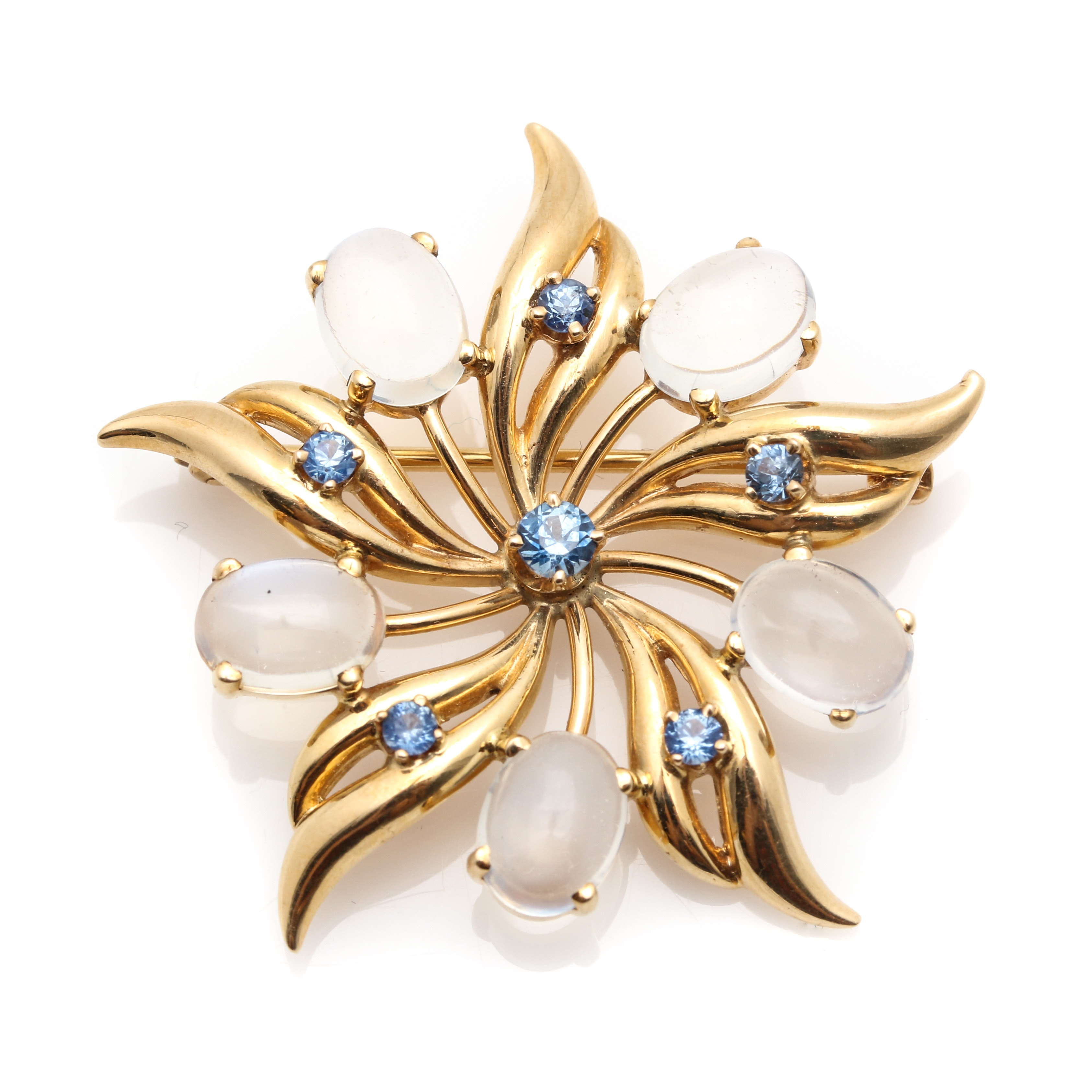 14K Yellow Gold Sapphire and Moonstone Brooch