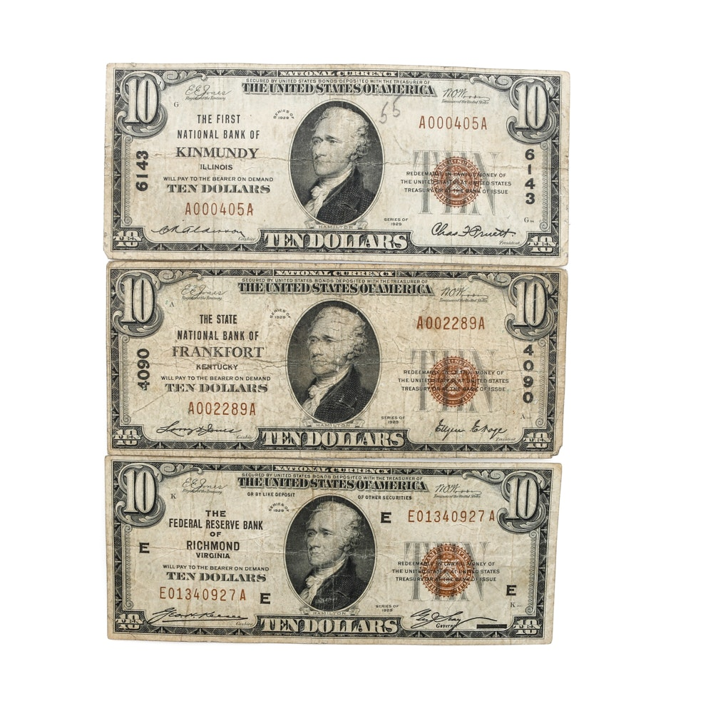 Selection of 1929 Bank Specific National Currency Banknotes