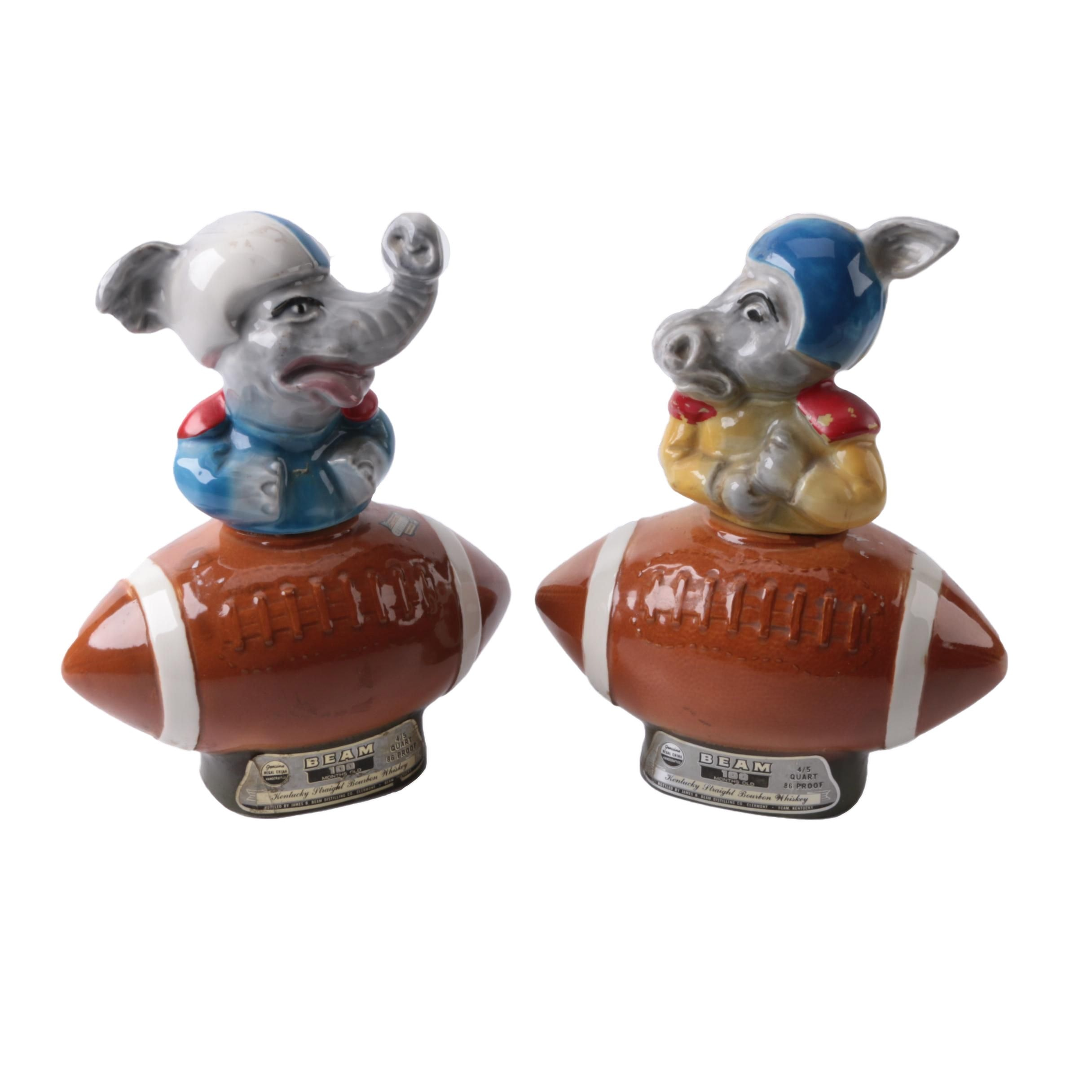 Ceramic Football-Themed Whiskey Decanters