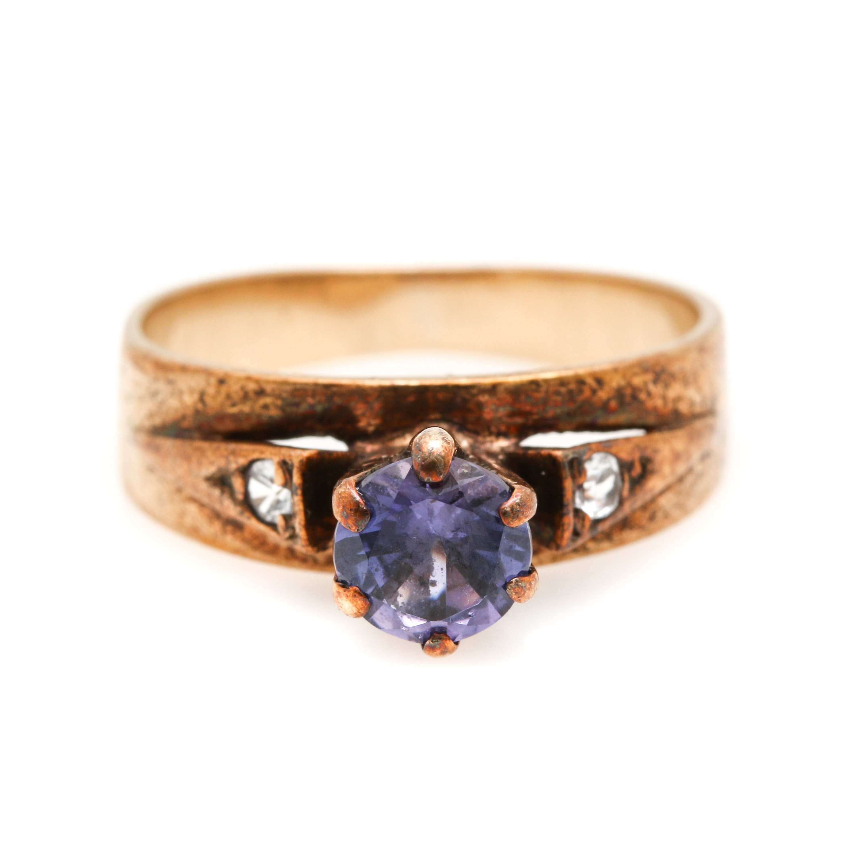 9K Yellow Gold Sapphire and Quartz Ring