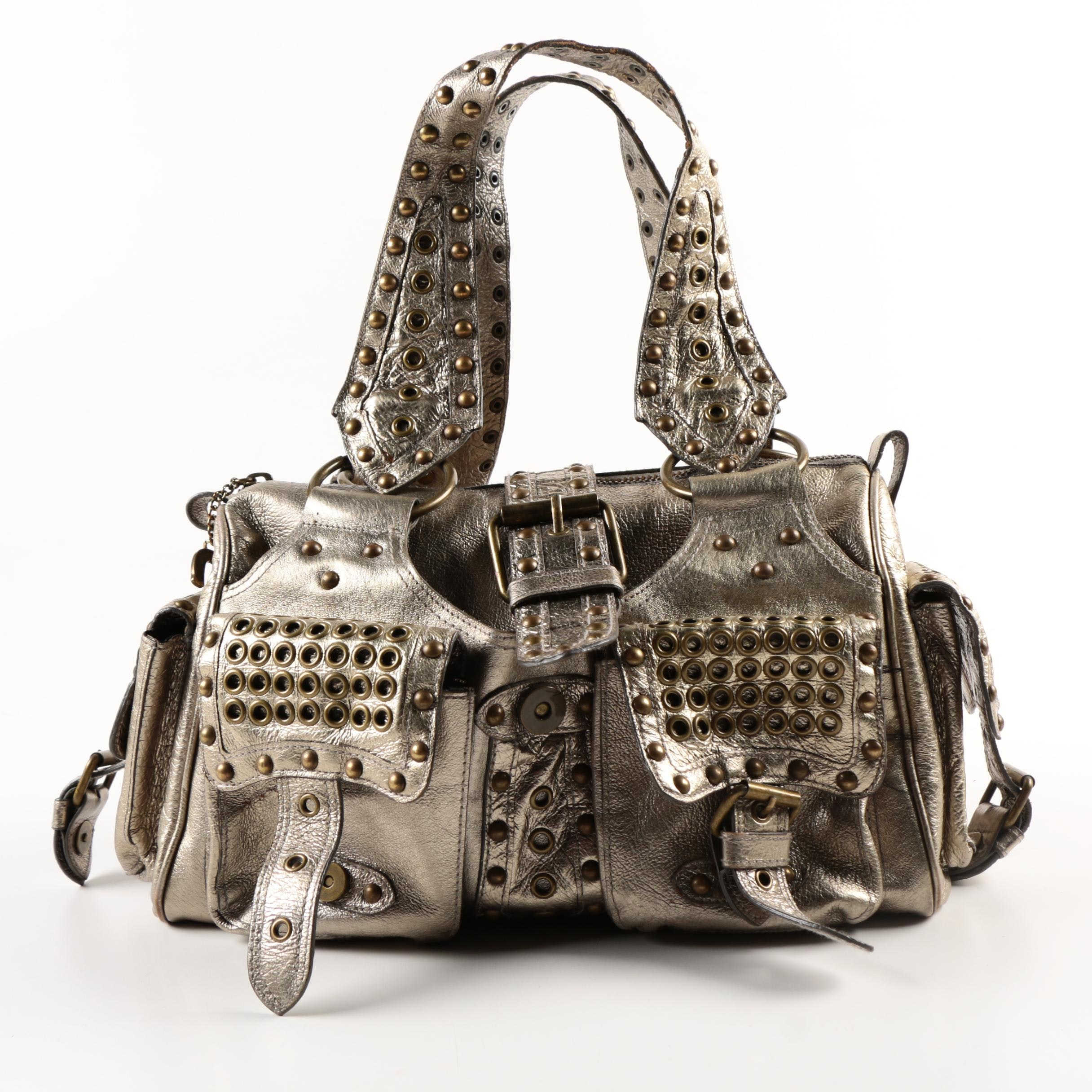 Betsey Johnson Silver Metallic Satchel Handbag