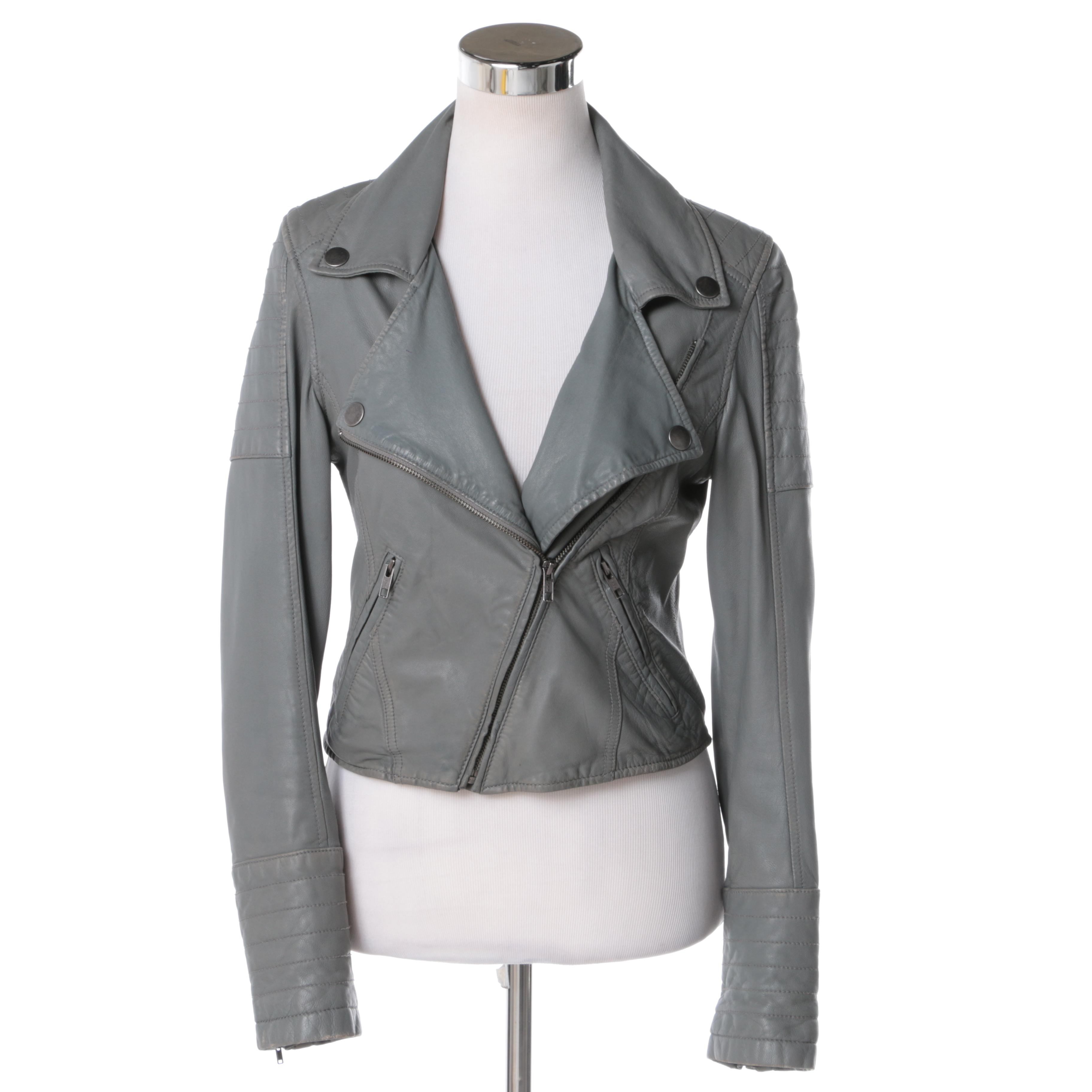 Women's Mike & Chris Grey Leather Motorcycle Jacket