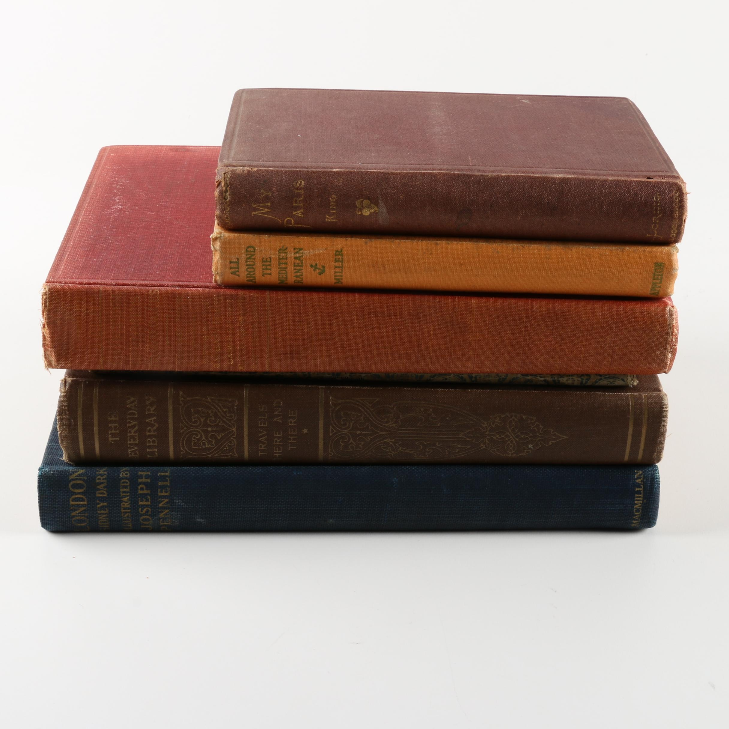 Six Antique and Vintage Travel Books