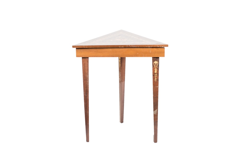 Mid-Century Italian Marquetry Musical Triangle Table