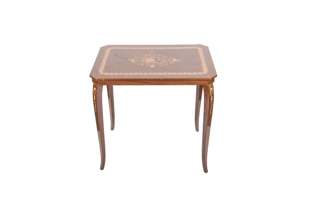 Mid-Century Italian Marquetry Side Table