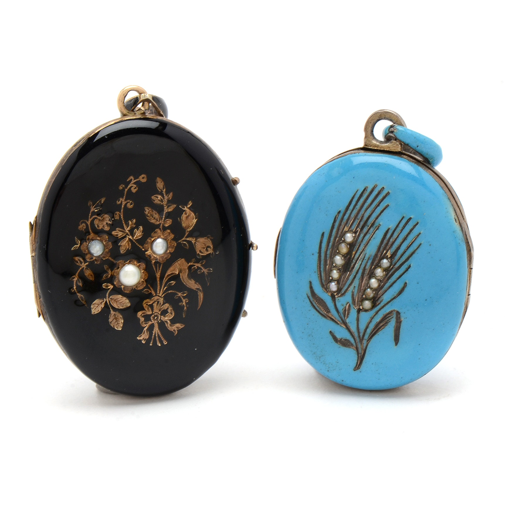 Two Victorian Enameled Lockets Embellished with Seed Pearls