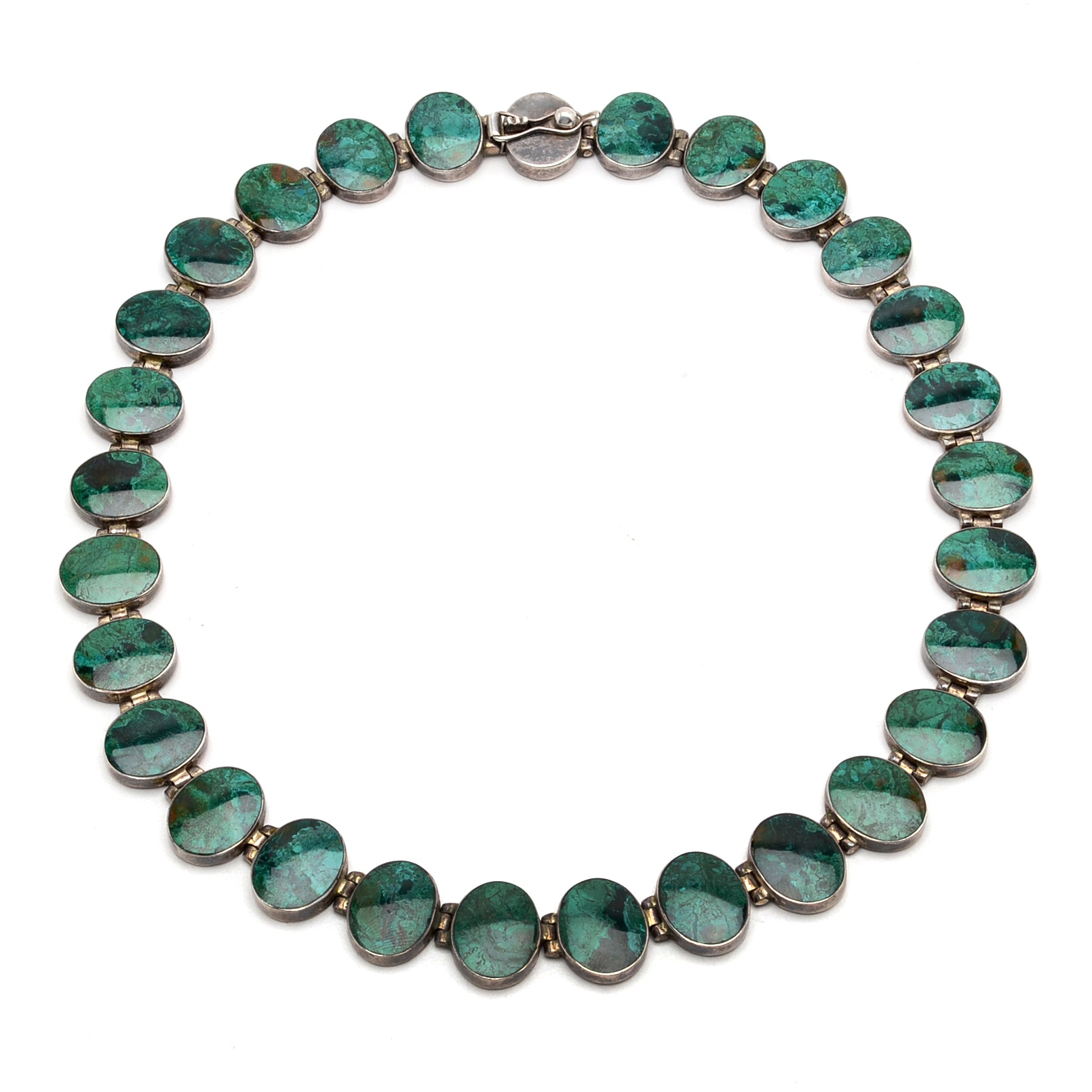 Sterling Silver and Azurmalachite Choker Necklace