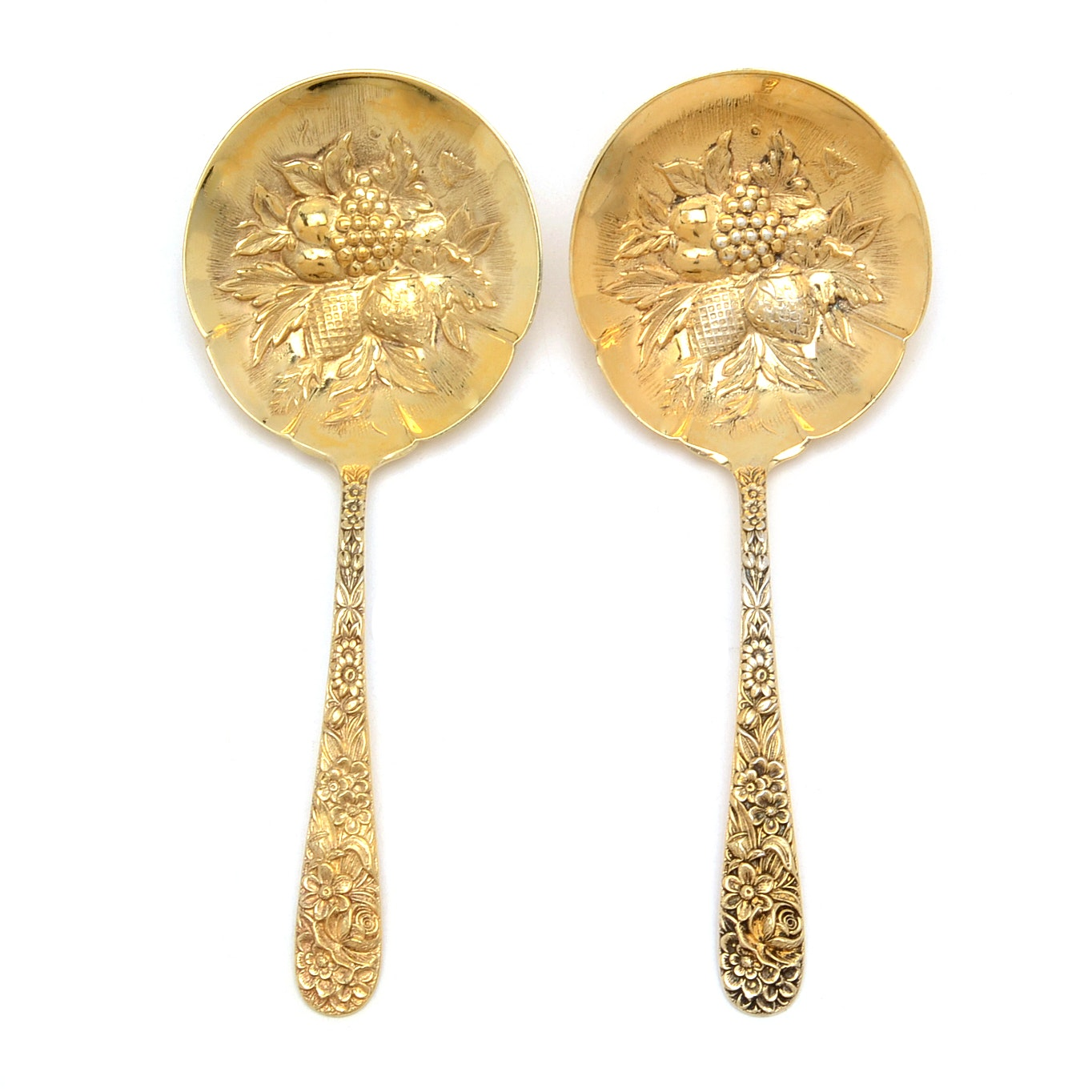 """S. Kirk & Son """"Repousse - Gold"""" Sterling Silver Berry Spoons"""
