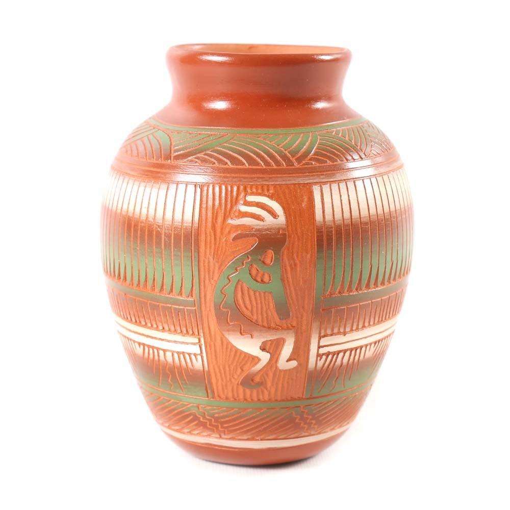 Kokopelli Native American Pottery Vase