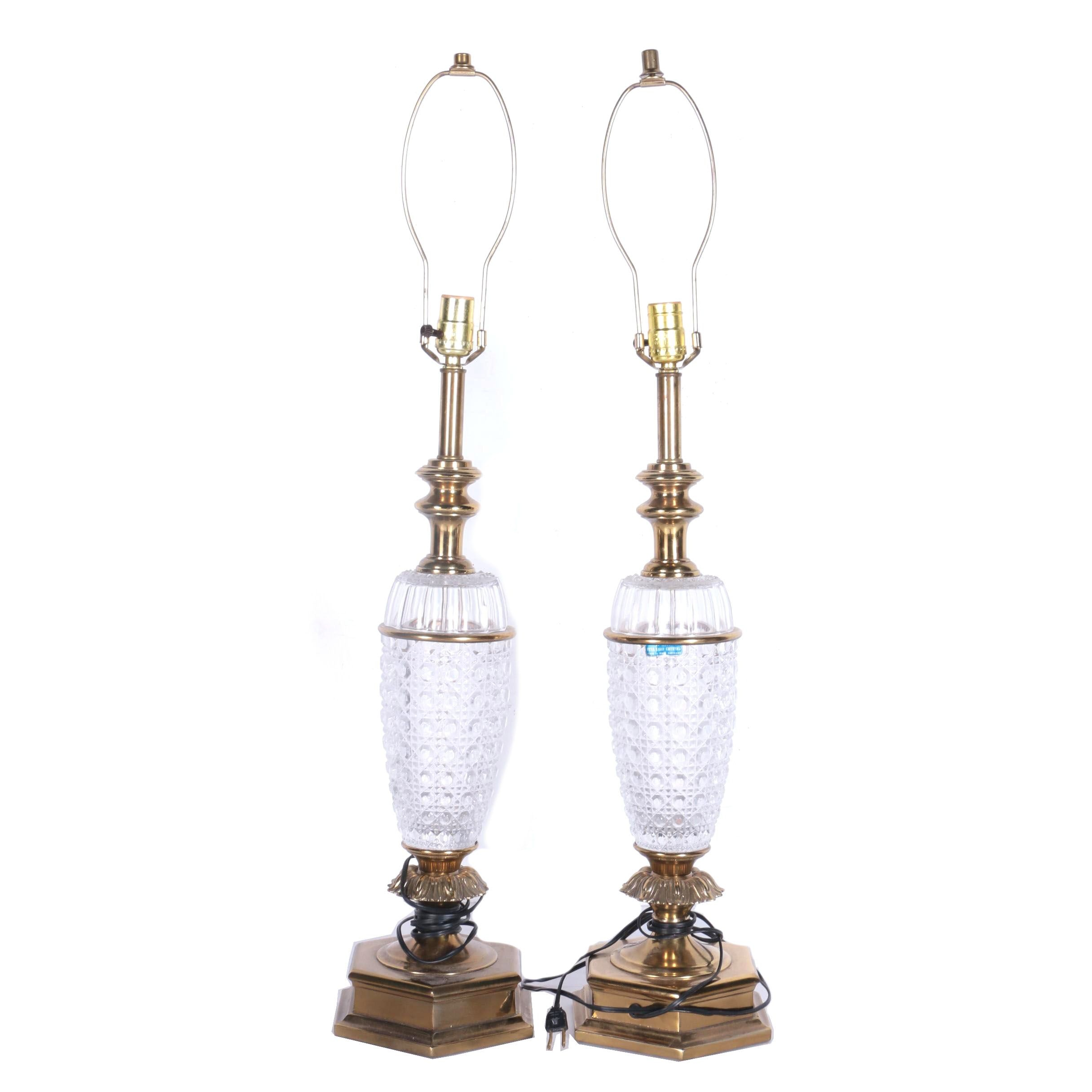 Two Full Lead Crystal Table Lamps