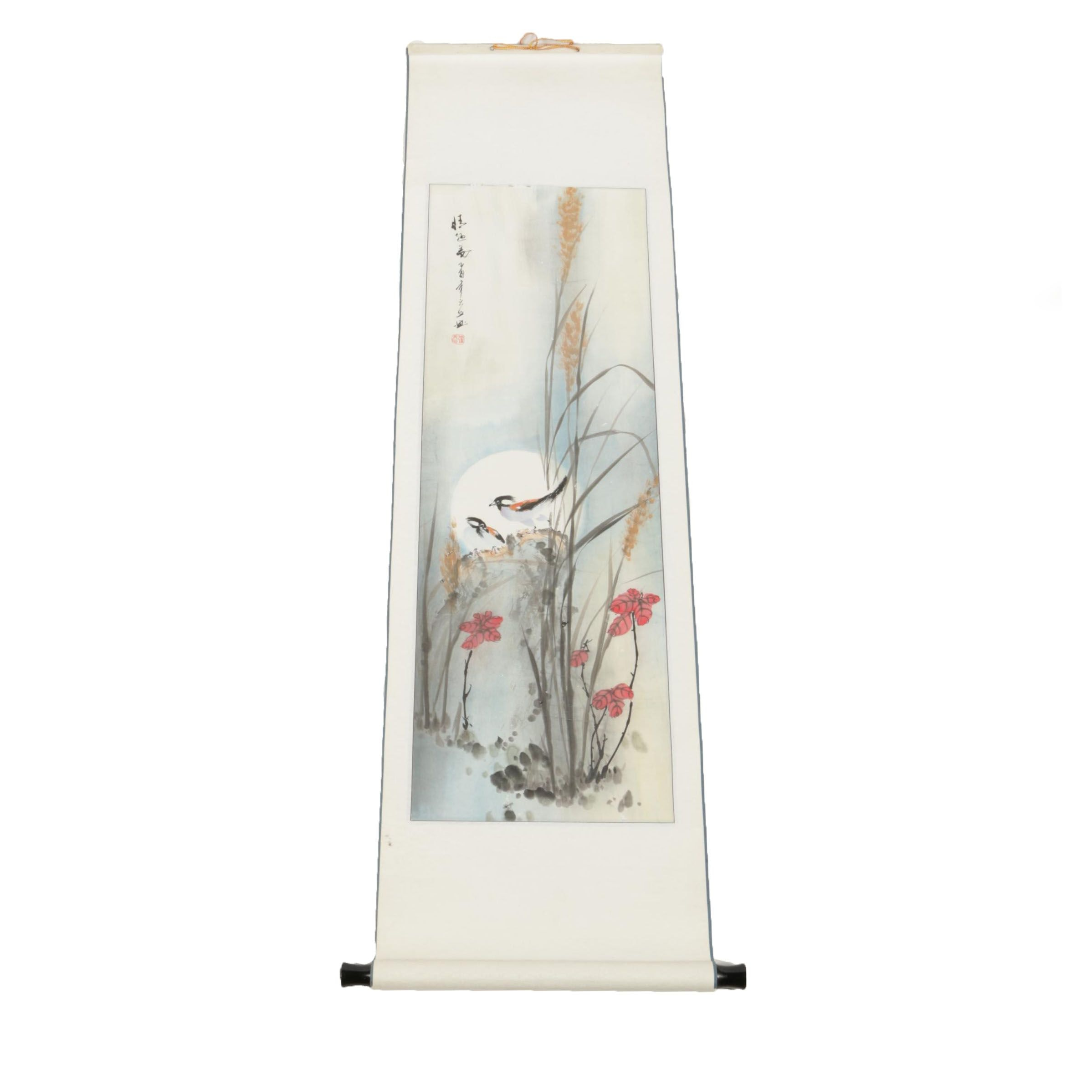 East Asian Watercolor and Ink Painting of Birds and the Moon on Hanging Scroll