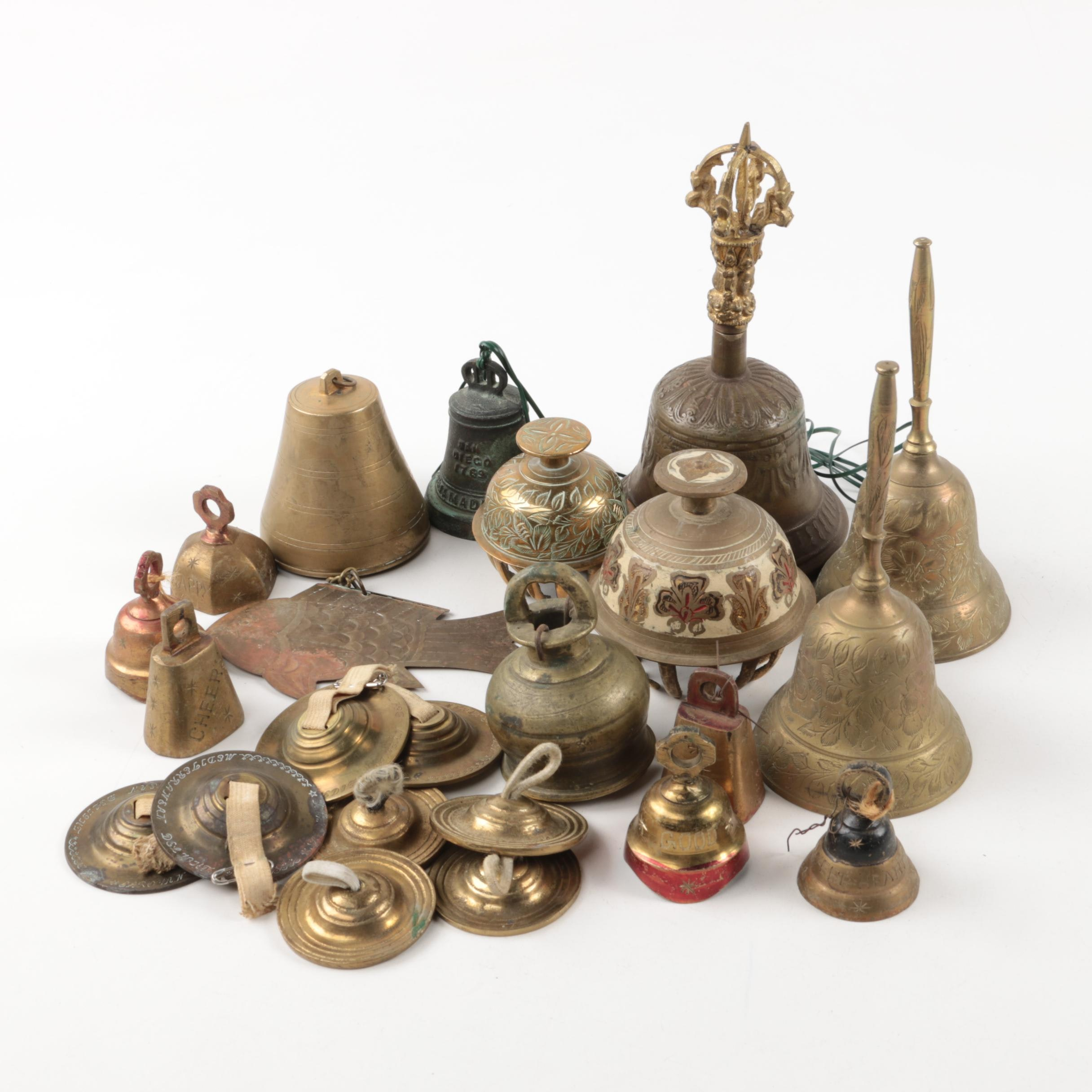 Collection of Brass Bells and Finger Symbols