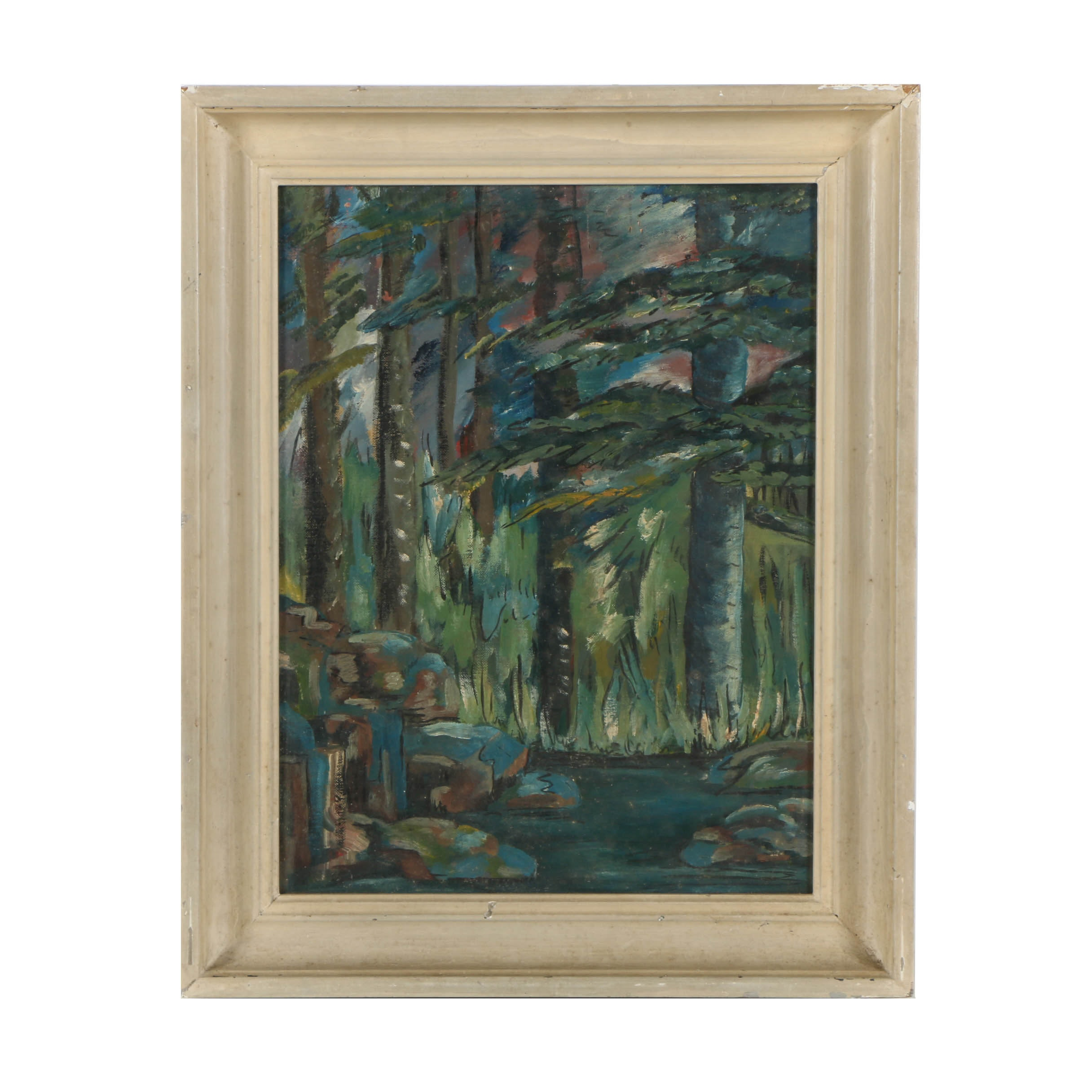 Mid 20th-Century Oil Painting on Canvas Board of Abstract Woodland Landscape