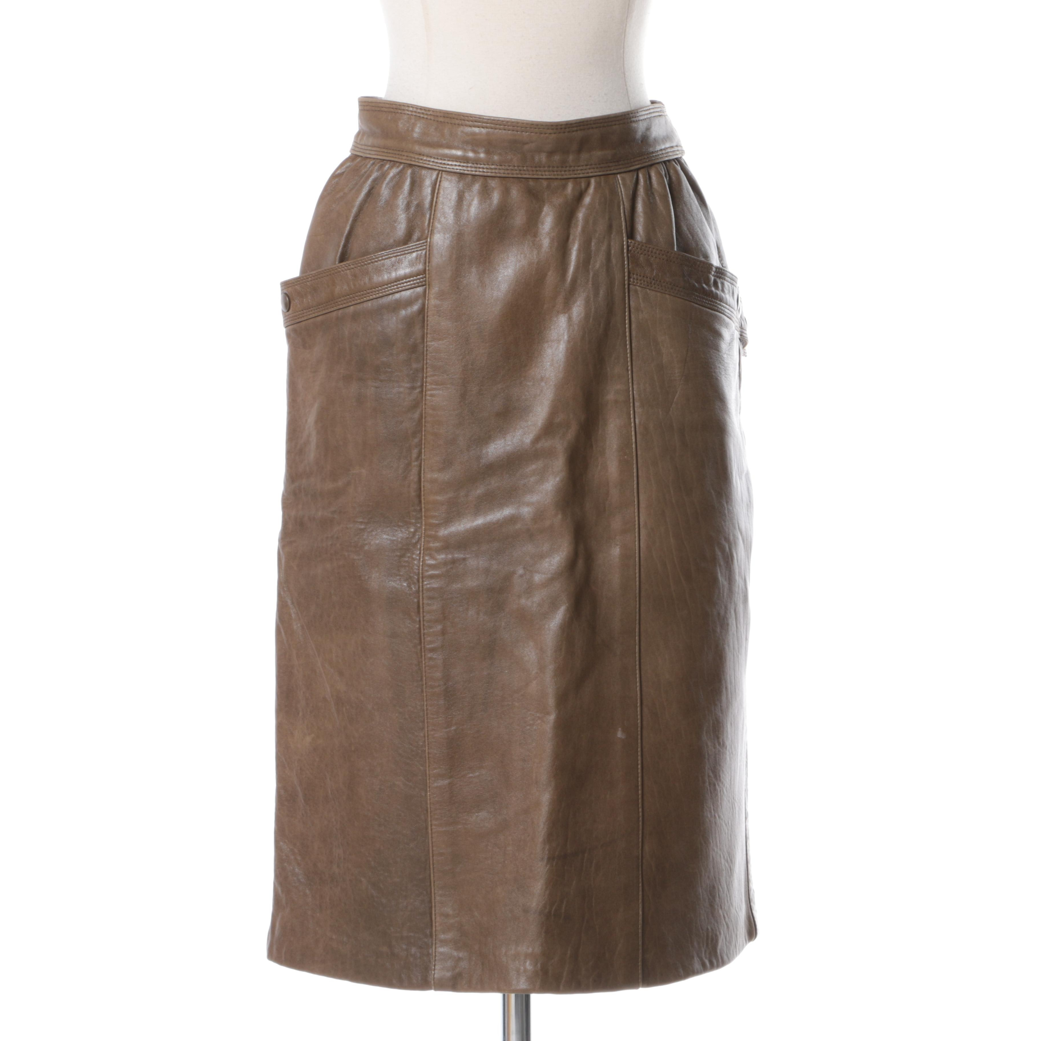 Vintage Escada Leather Skirt