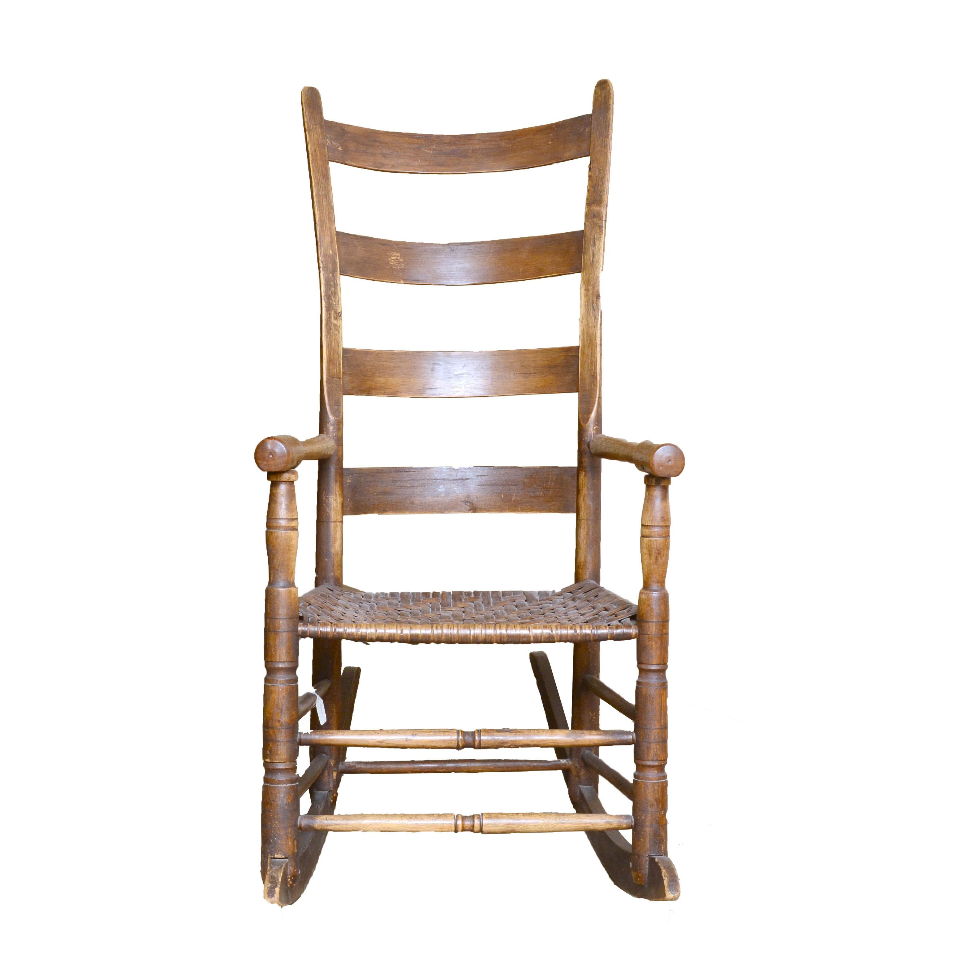 19th Century Oak Ladder Back Rocking Chair