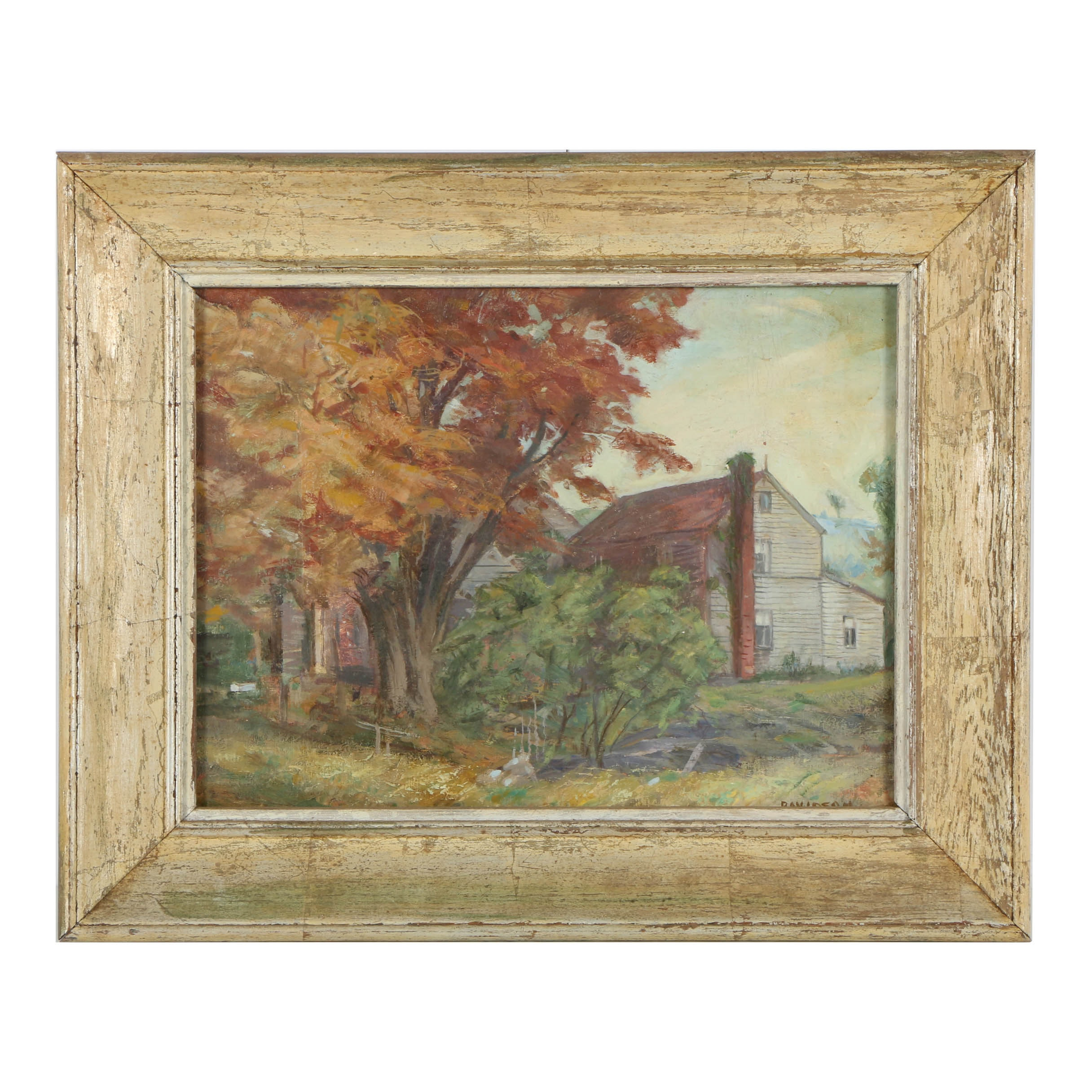 Early 20th-Century Oil Painting on Canvas Panel of Domestic Landscape