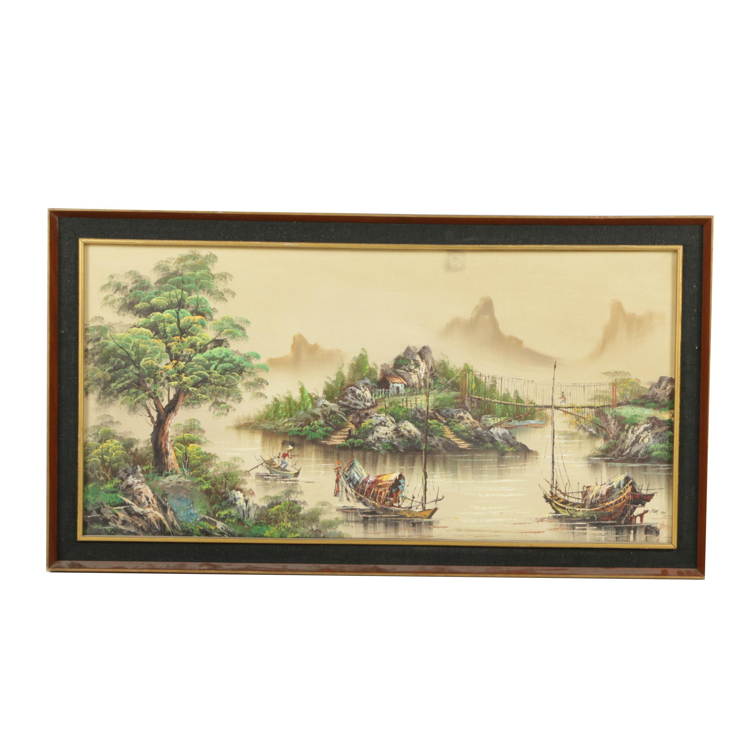 Kam Hoi Oil Painting on Canvas of East Asian Harbor Landscape