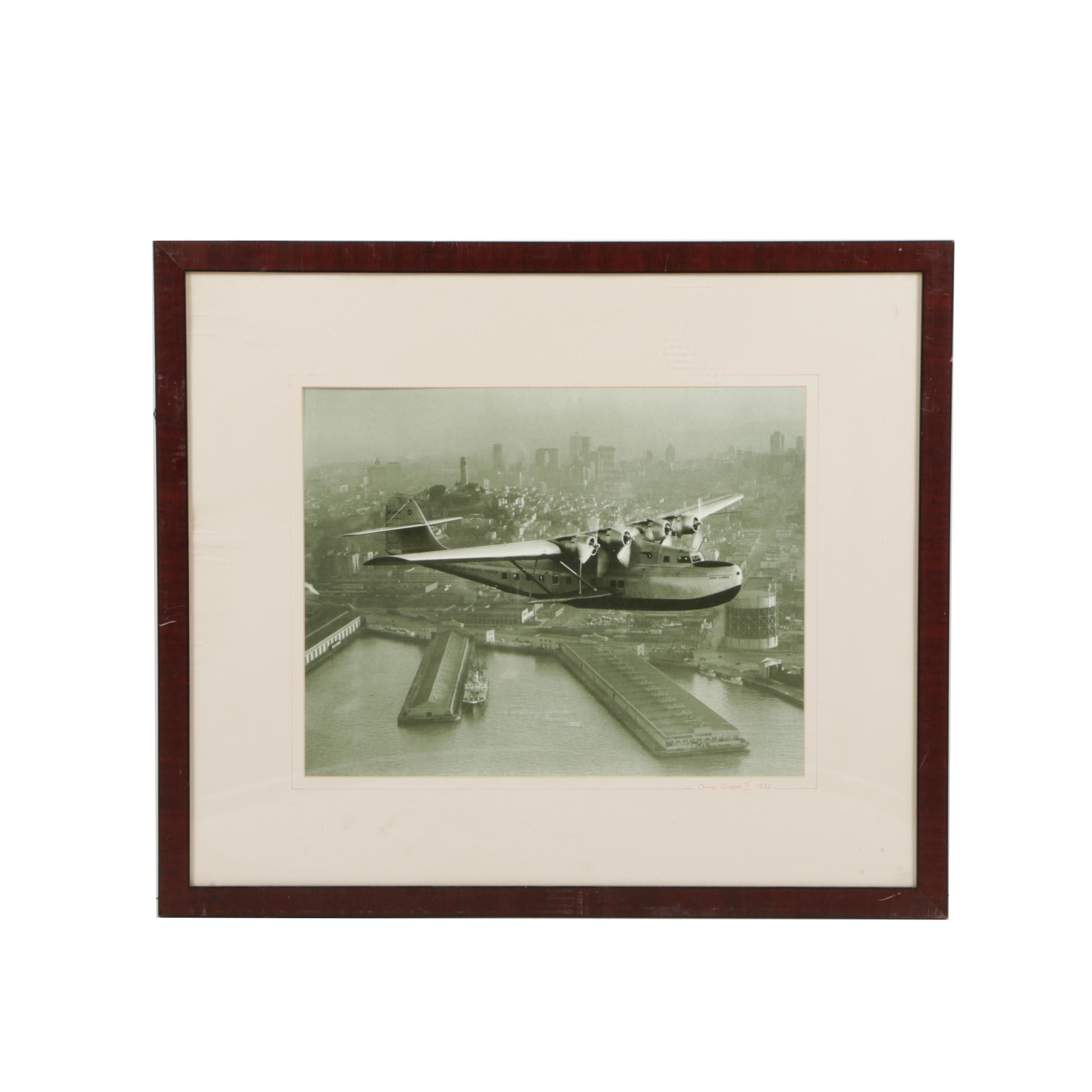 """Offset Lithograph After 1936 Photograph of Pan Am's """"China Clipper"""""""