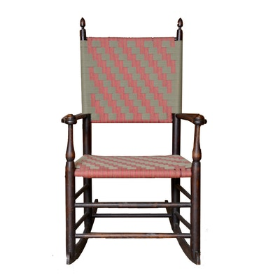 Antique Shaker Youth Rocking Chair with Woven Tape Seat and Back - Online Furniture Auctions Vintage Furniture Auction Antique