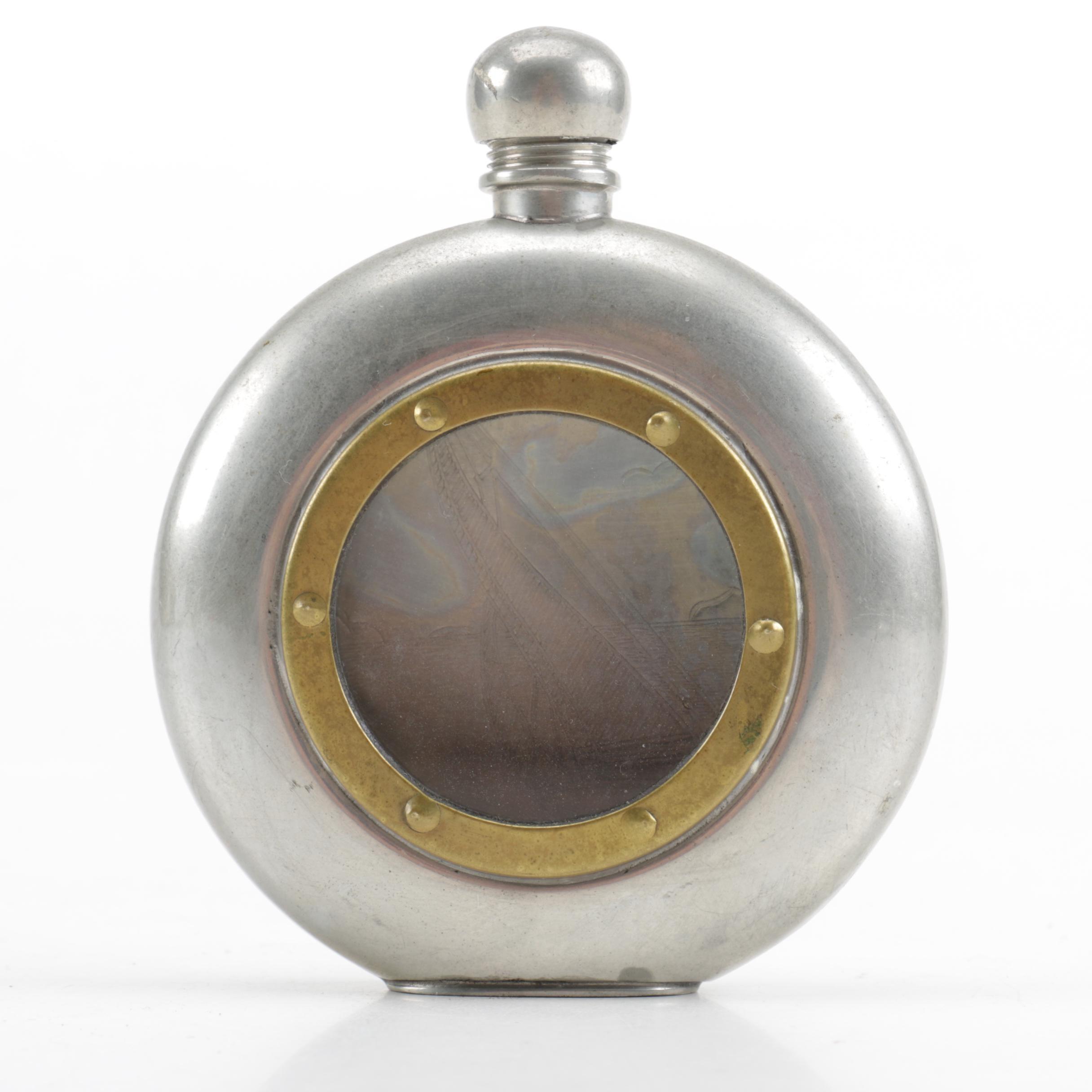 Vintage Tin Porthole Flask