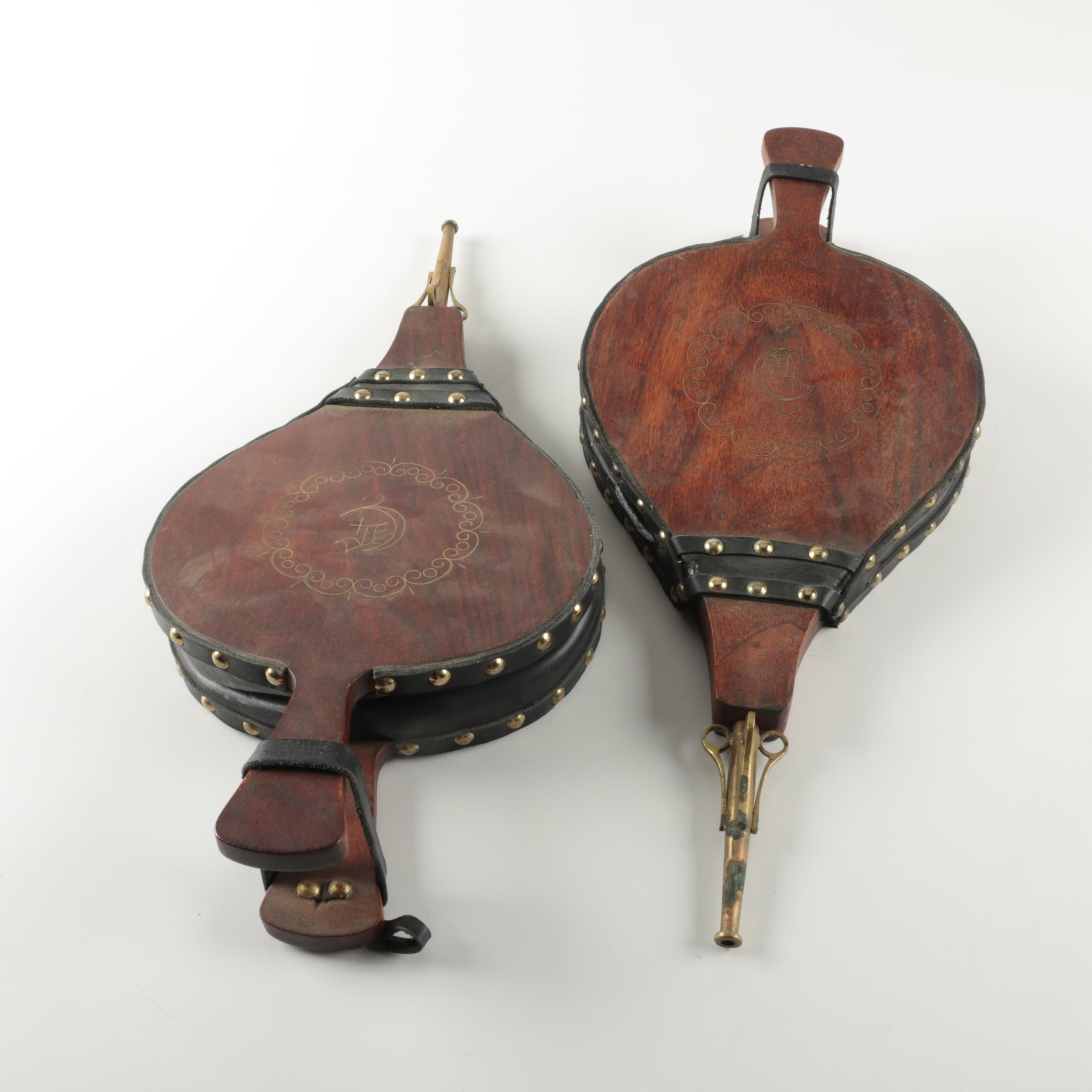 wood and leather fireplace bellows ebth