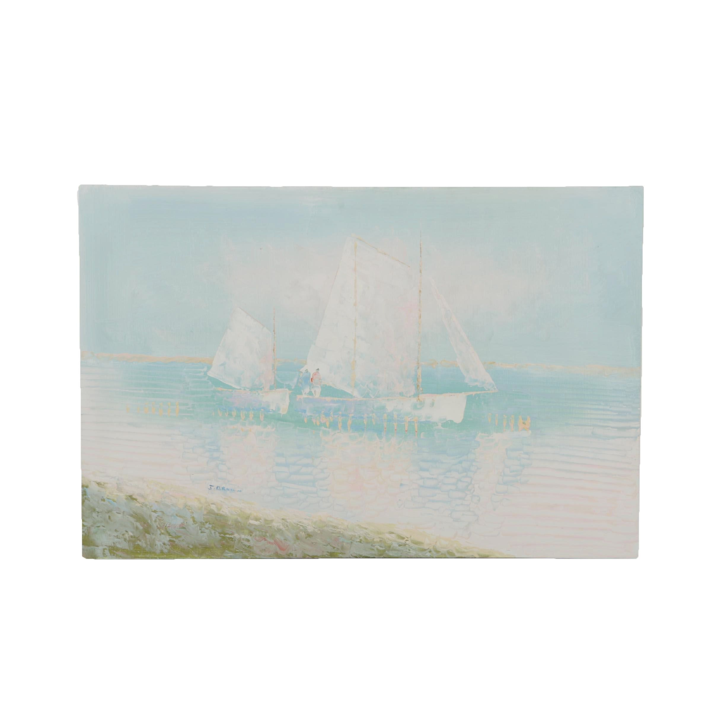 J. Brown Oil Painting of Sailboats