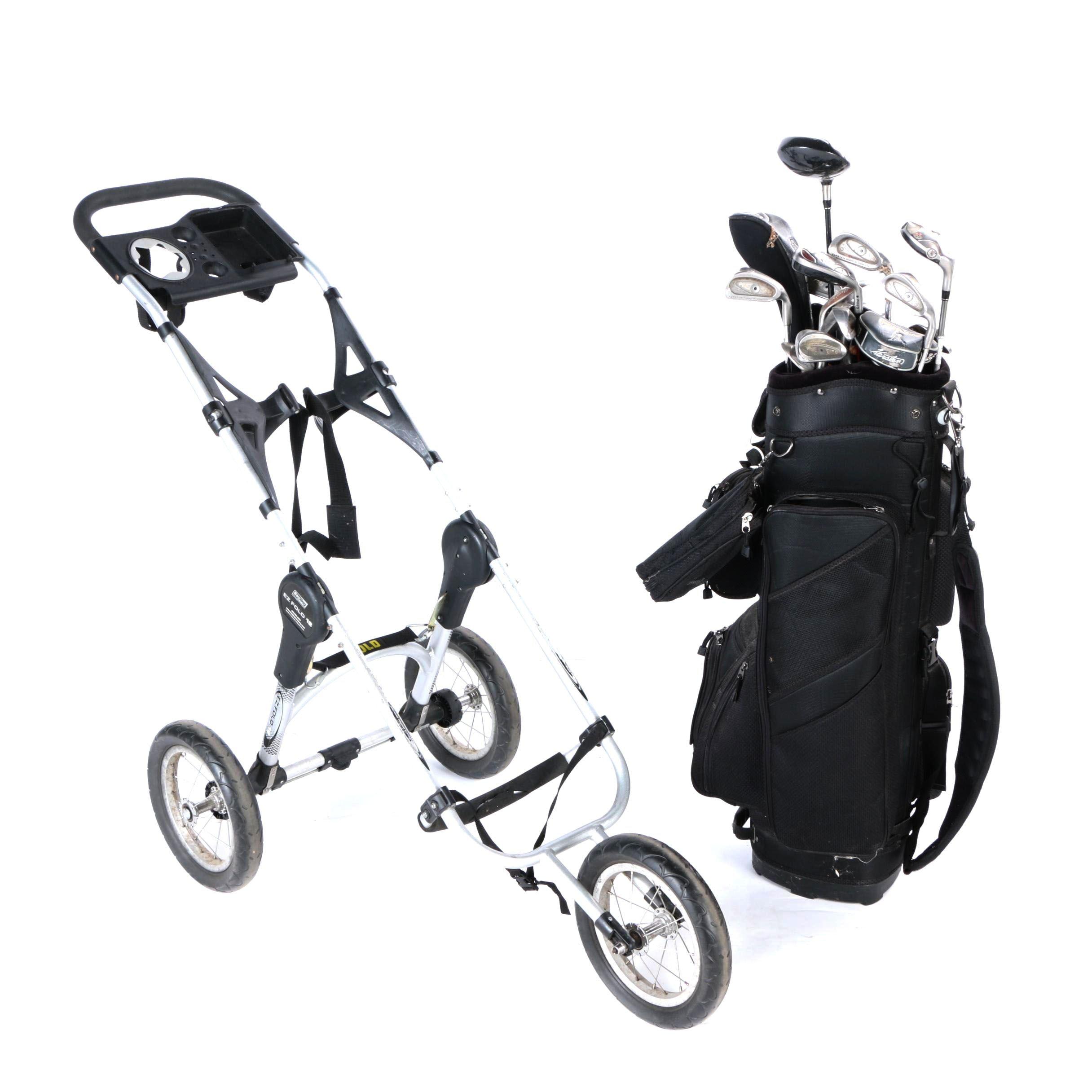 Bag Boy EZ Fold 12 Push Cart with Calina Golf Bag and Clubs