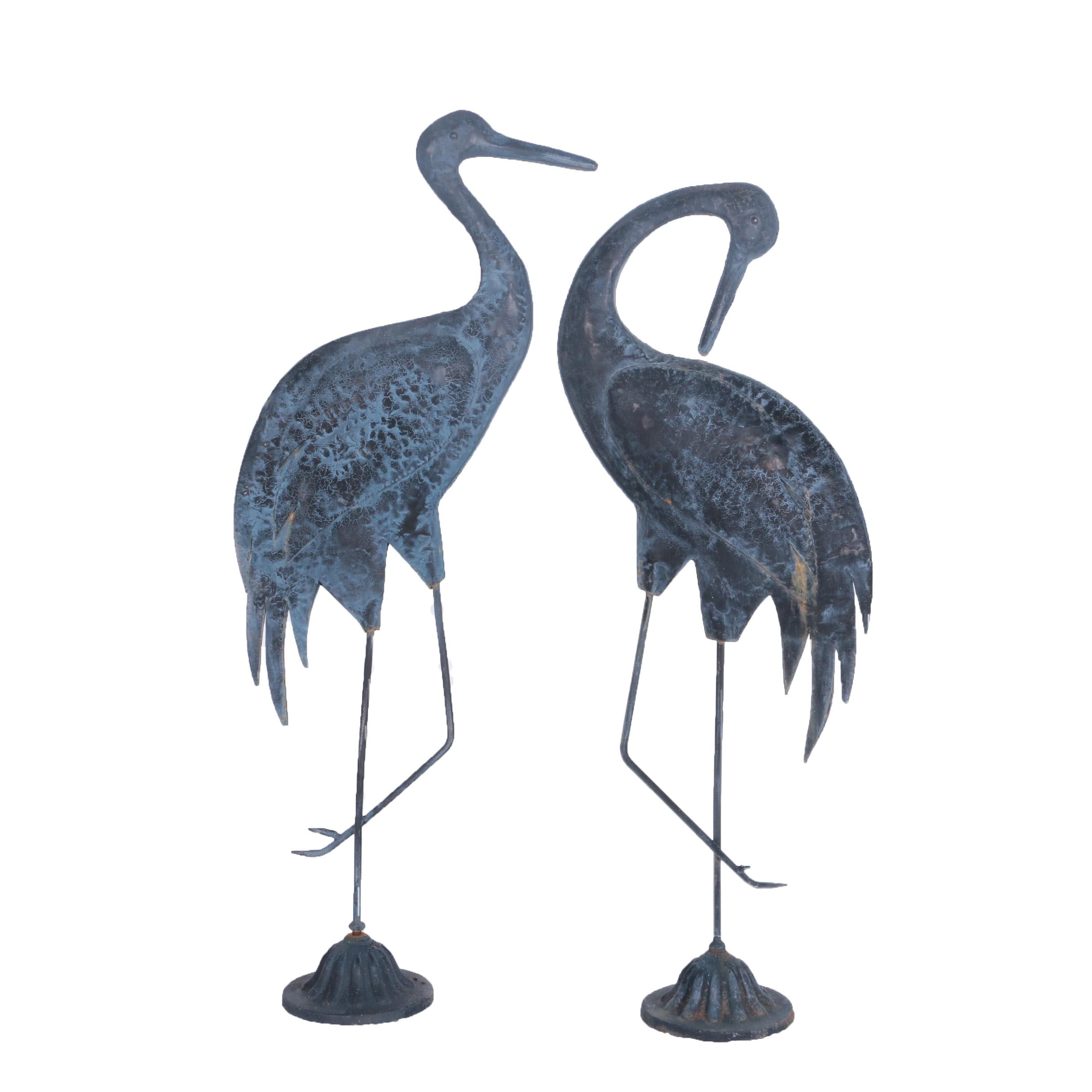 Metal Crane Yard Sculptures