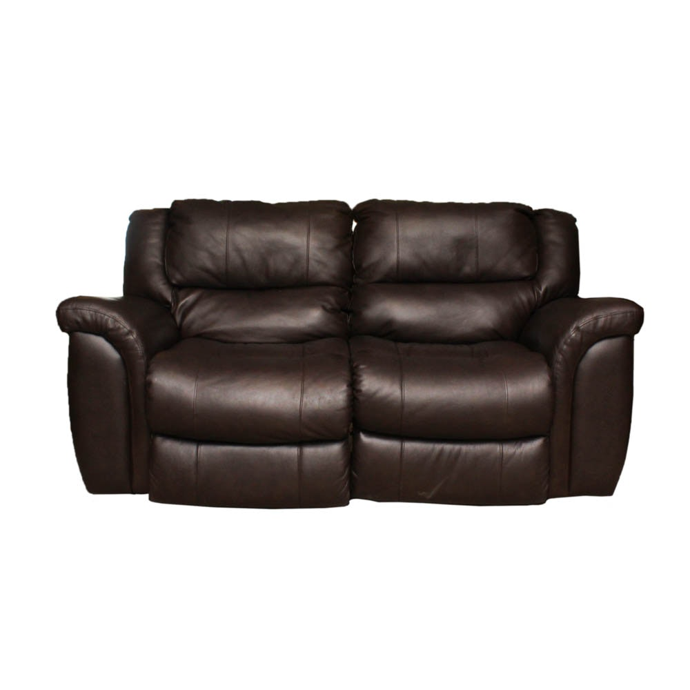Leather Reclining Loveseat with Electric Controls