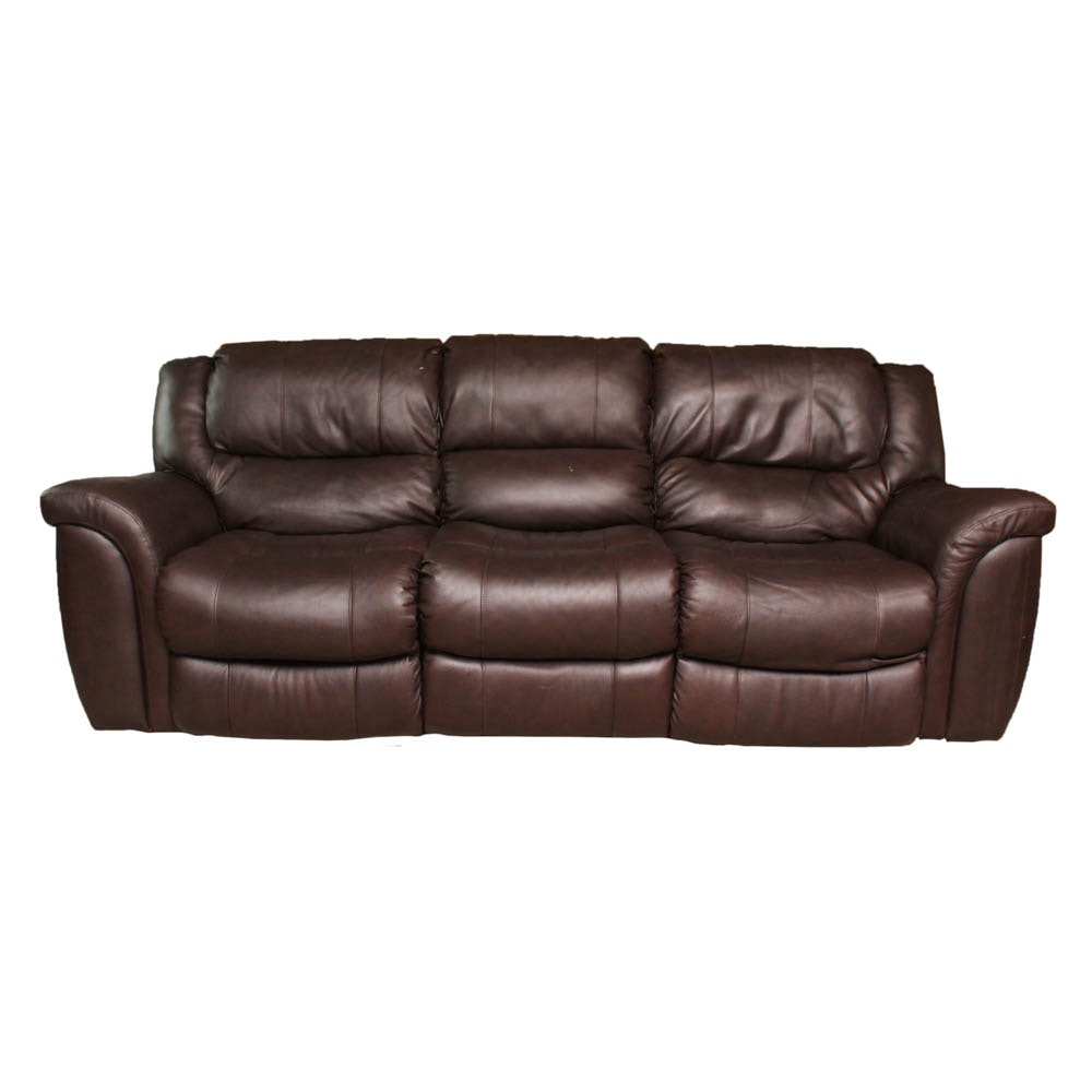 Leather Reclining Sofa with Electric Controls