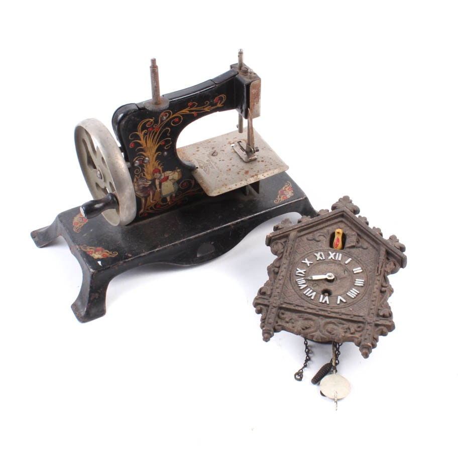 Vintage Miniature Sewing Machine and Cuckoo Clock