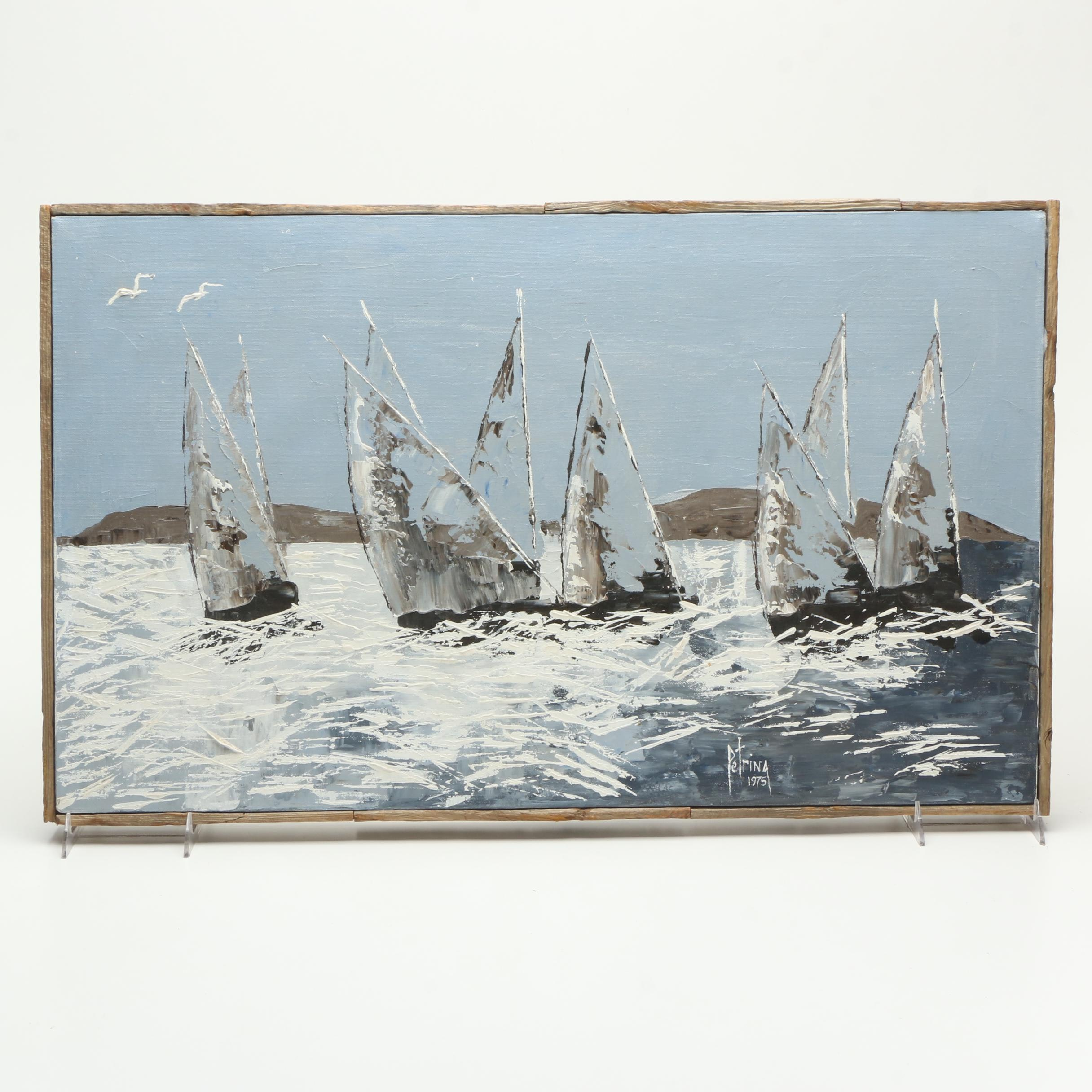 Alice Petrina 1975 Oil Painting on Canvas of Sailboats in Blue, White and Grey