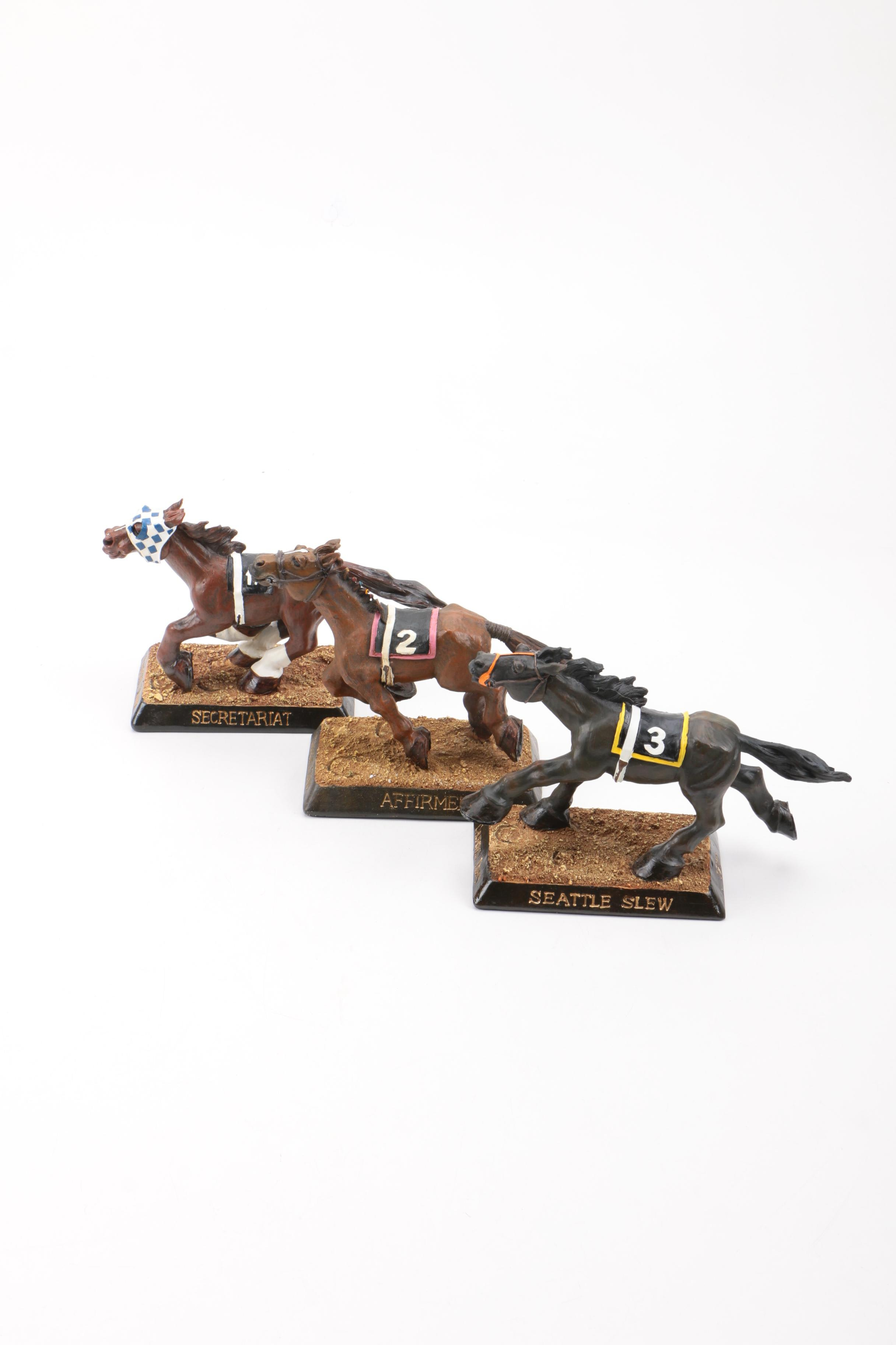Three Kentucky Derby Winning Horse Bobbleheads