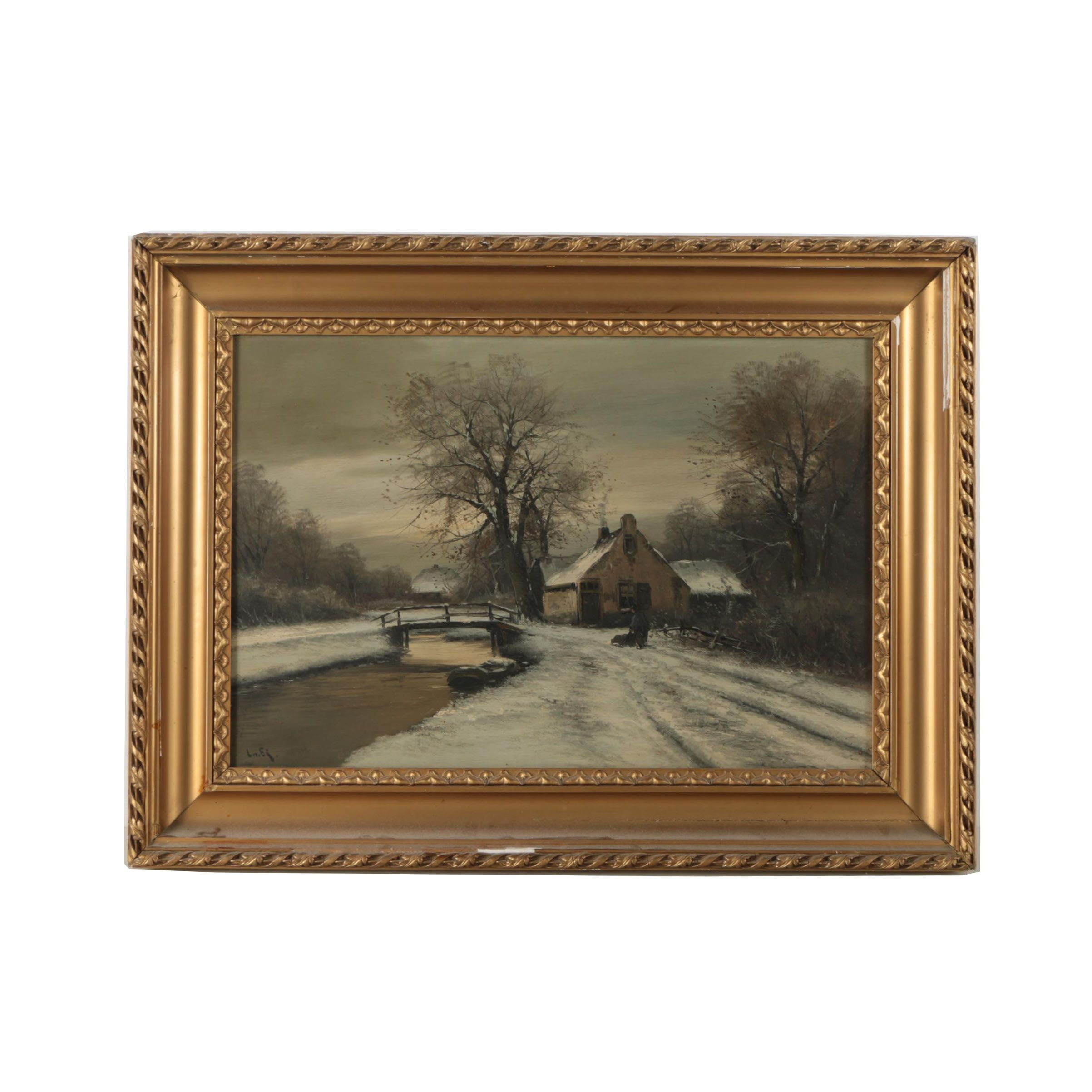 Signed Original Turn-of-the-Century Oil on Board of Figure in Winter Landscape