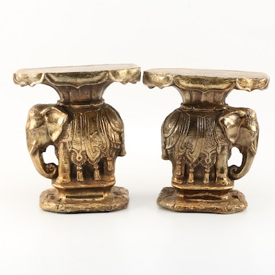 Pair of Elephant Motif Indian Style Base Stands