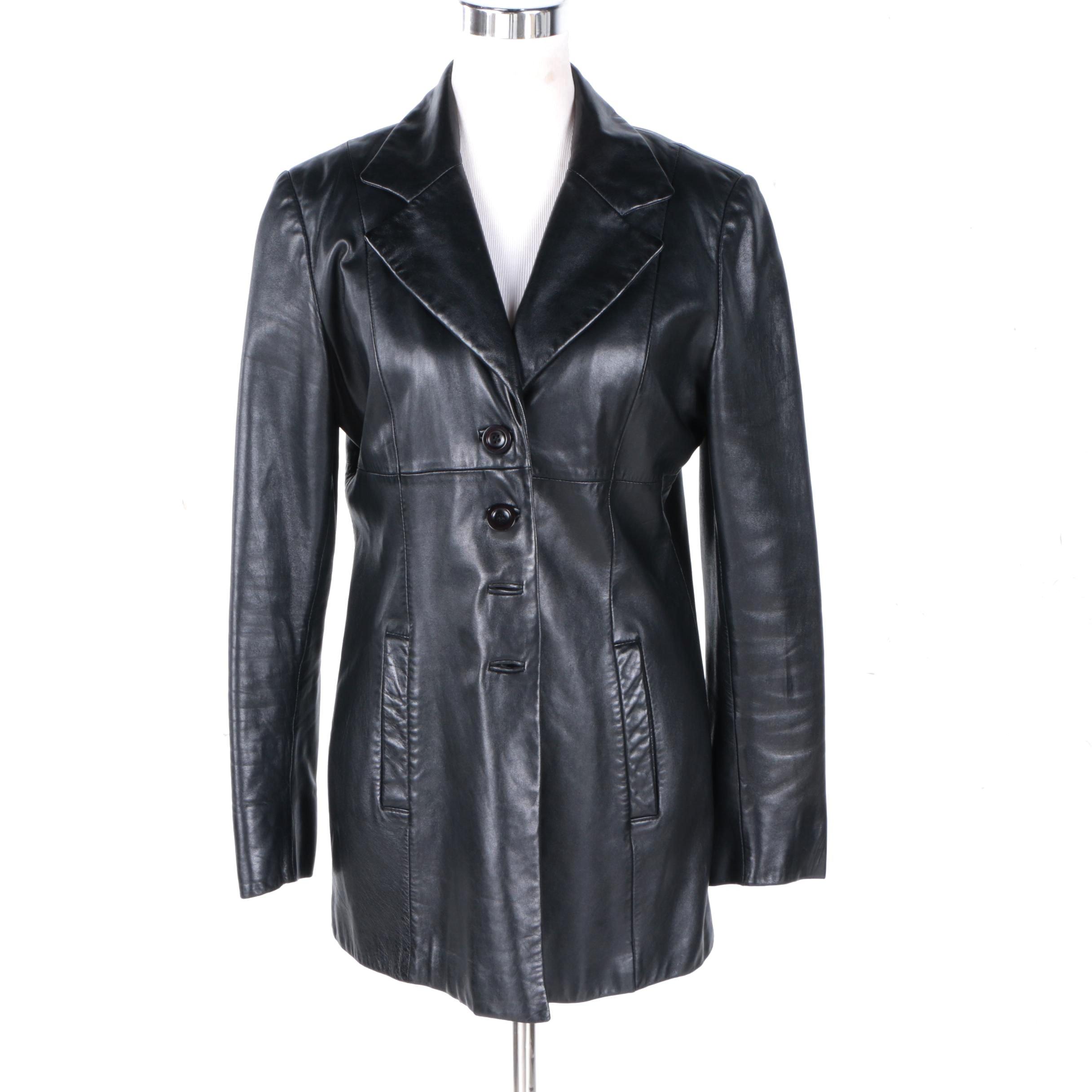 Women's Bebe Black Leather Coat