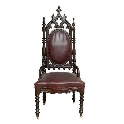 19th Century Gothic Revival Side Chair - Online Furniture Auctions Vintage Furniture Auction Antique