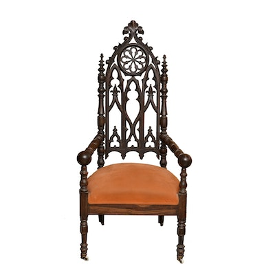 19th Century Gothic Revival Armchair with Upholstered Seat - Online Furniture Auctions Vintage Furniture Auction Antique
