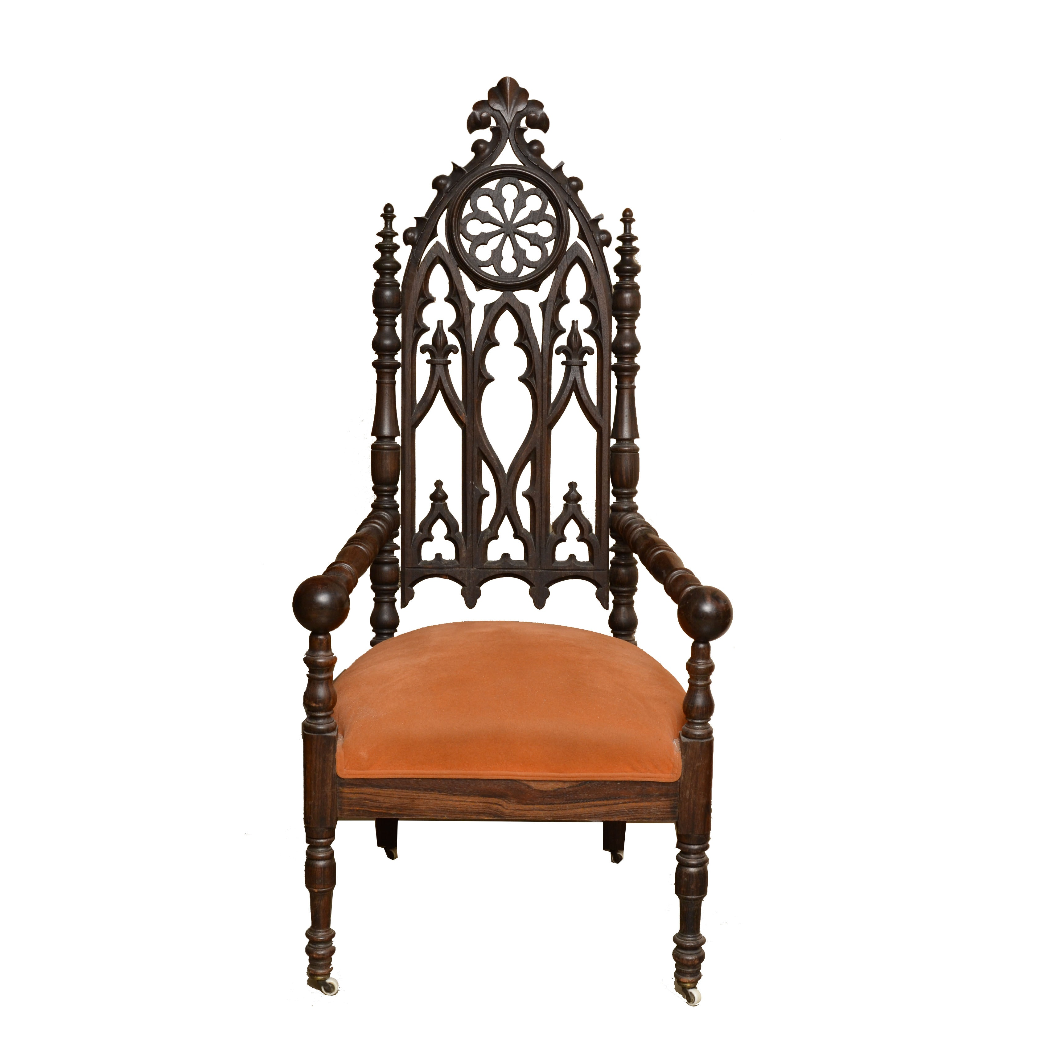 19th Century Gothic Revival Armchair with Upholstered Seat