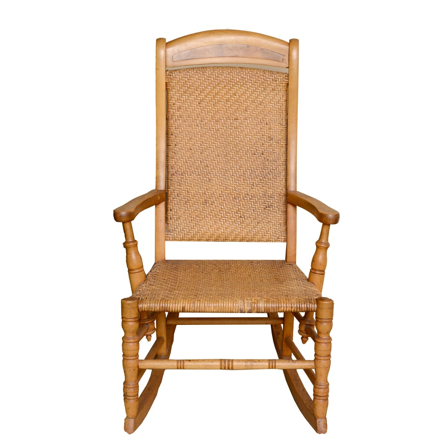 - Antique Youth Rocking Chair In Maple With Woven Rattan Seat And Back