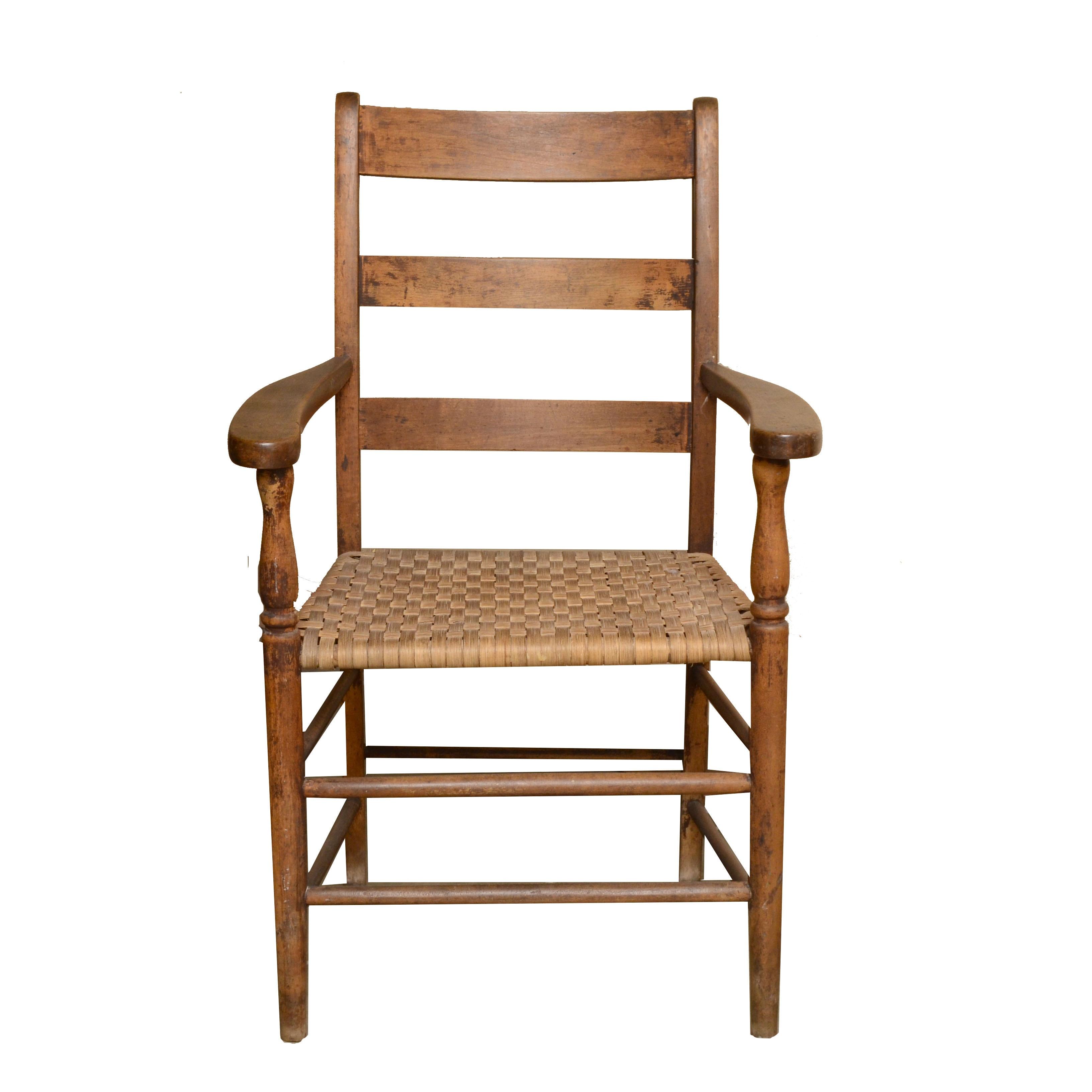 Antique Shaker Ladderback Armchair with Woven Splint Seat
