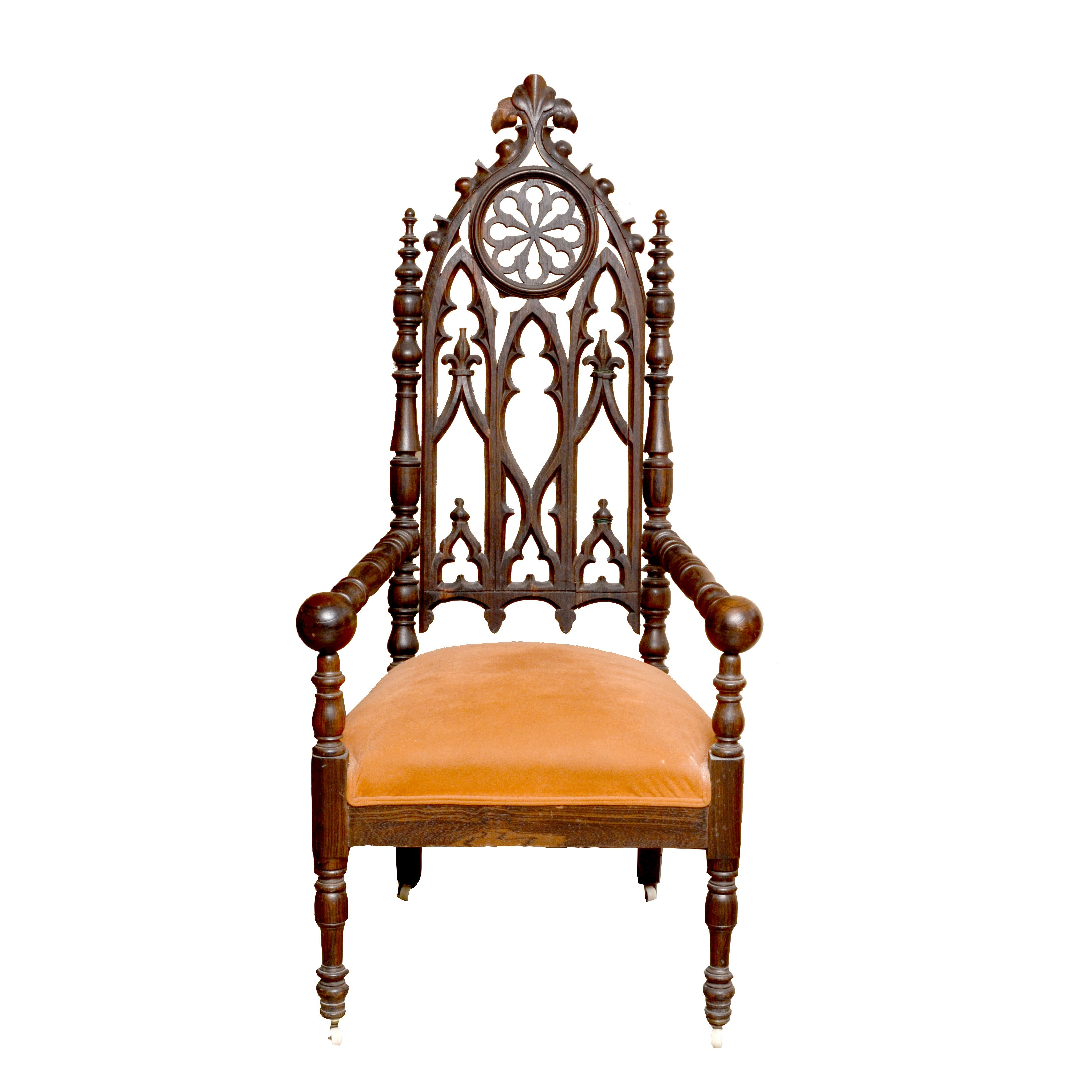 19th Century Gothic Revival Arm Chair with Upholstered Seat