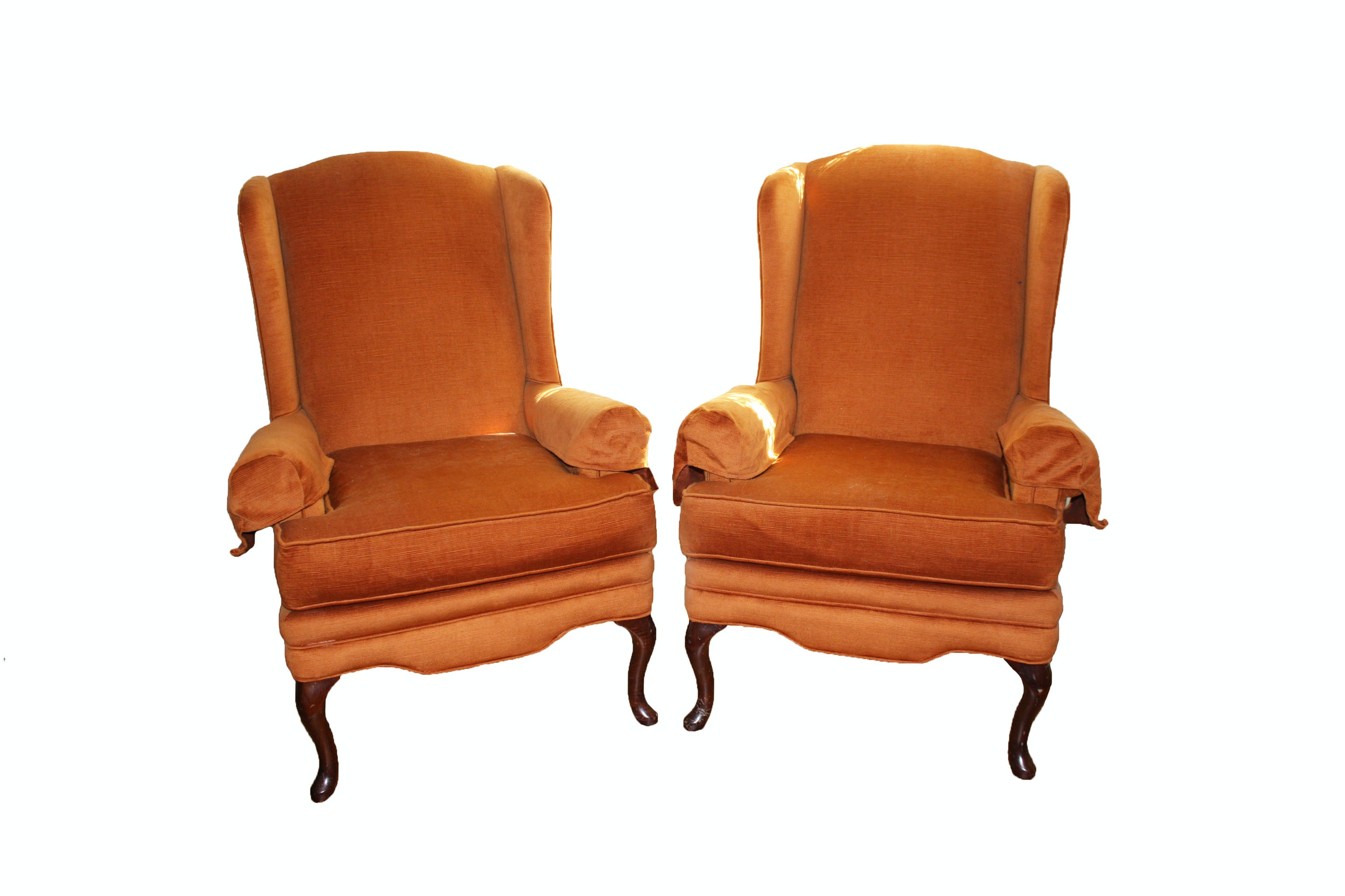 Vintage Upholstered Wingback Armchairs
