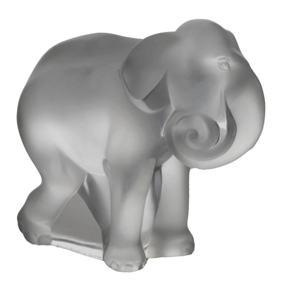 Lalique Crystal Elephant Figurine