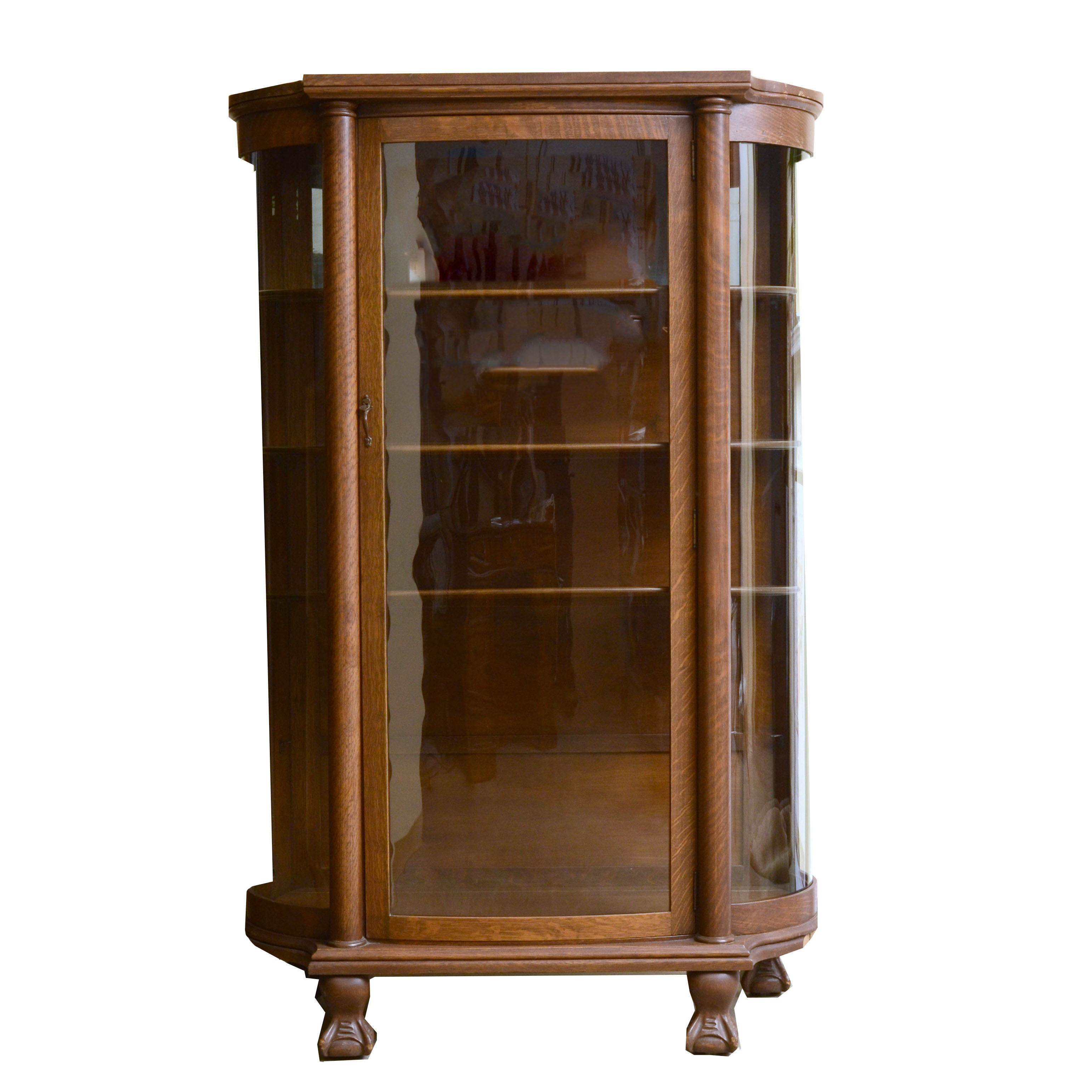 Early 20th Century Oak Curved Glass China Cupboard