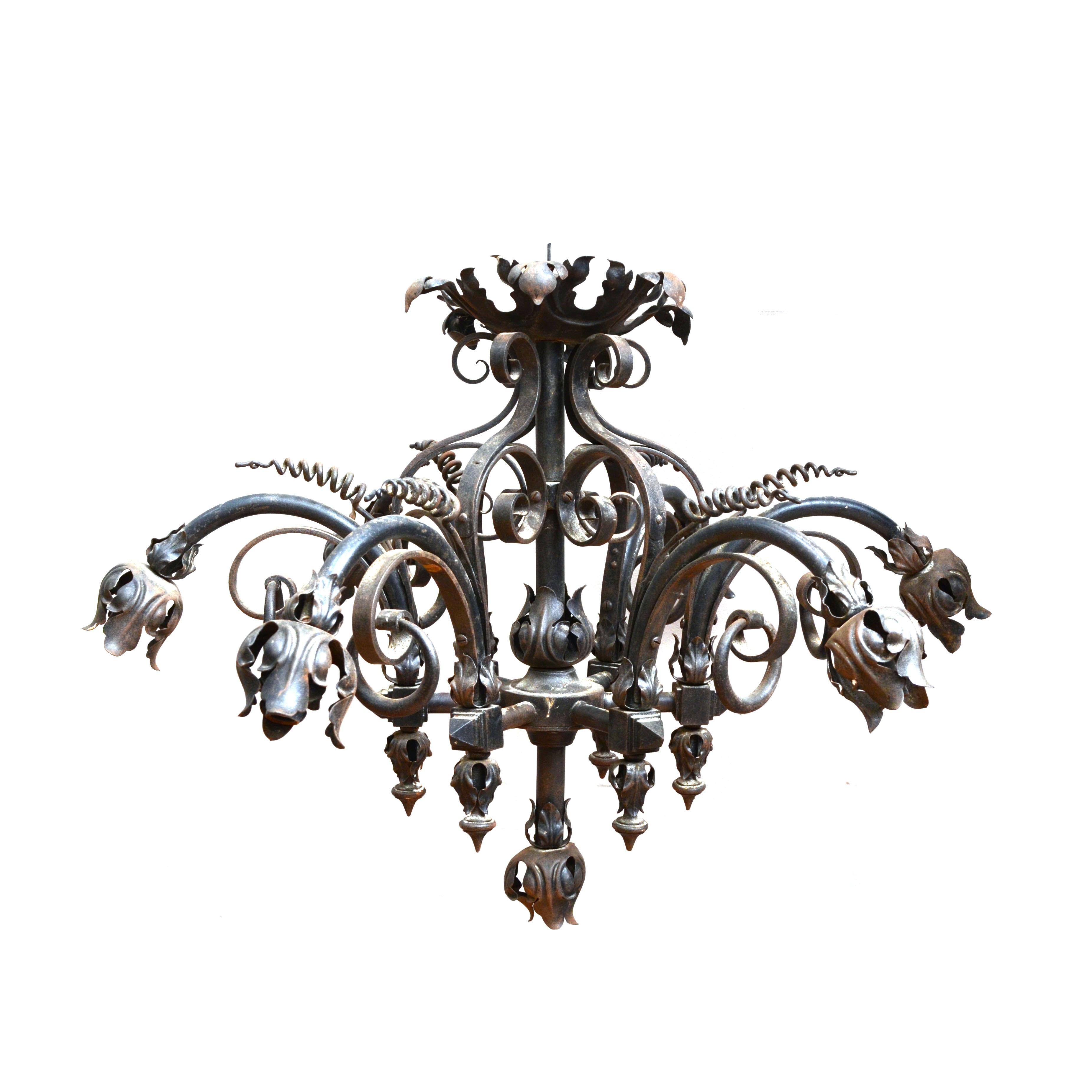 Antique Wrought Iron Ornate Foliate Chandelier