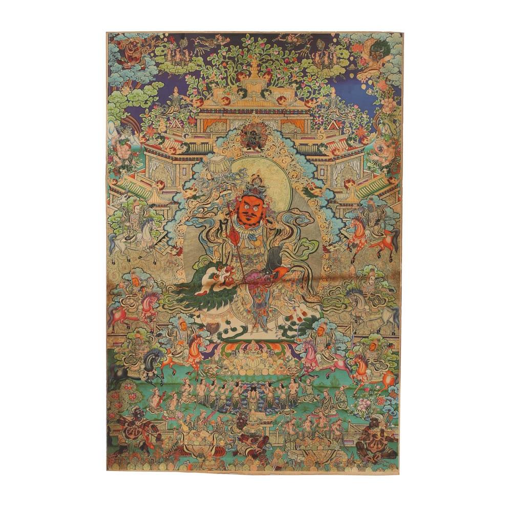 Tibetan Style Giclee Print on Fabric of Thangka