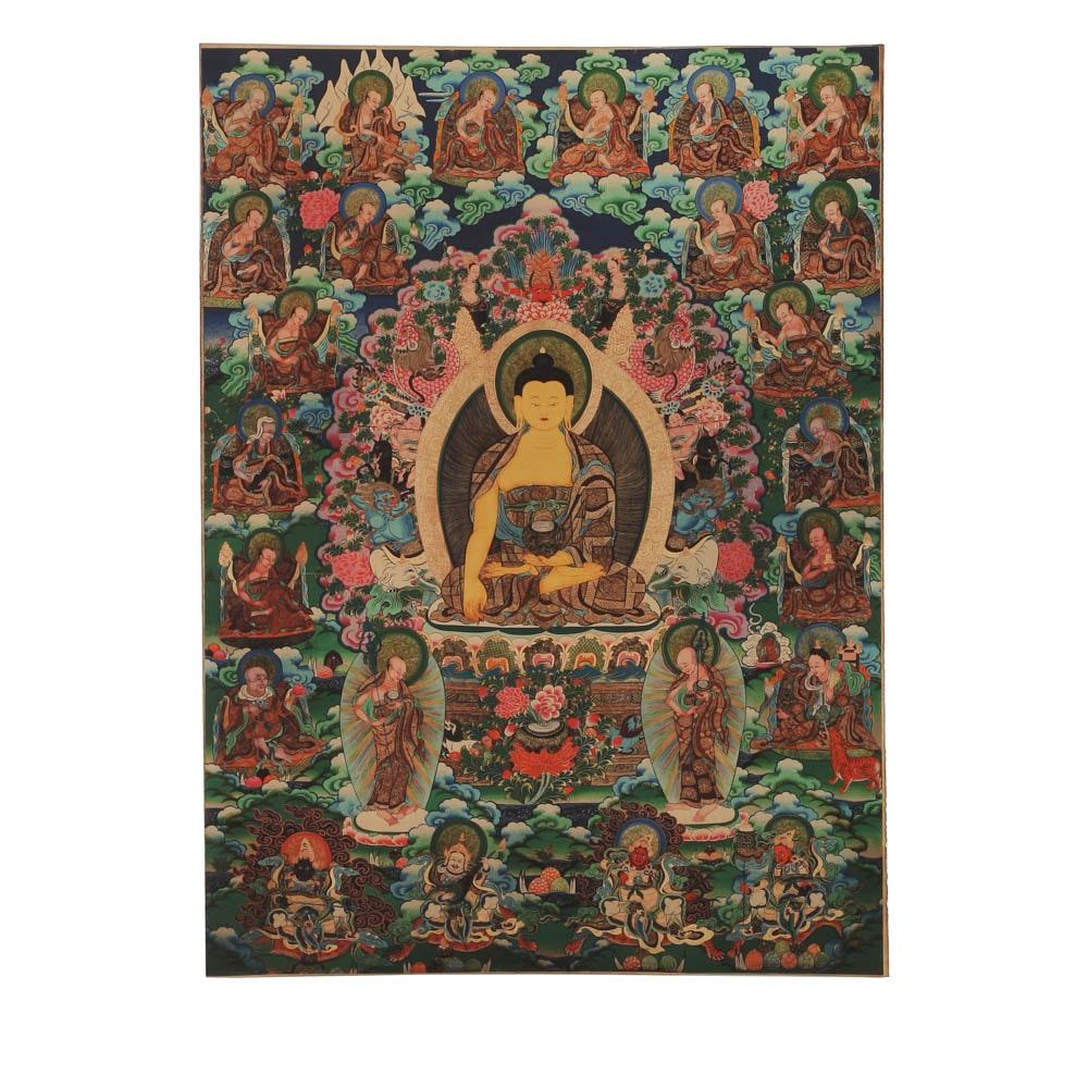 Tibetan Giclee Print on Fabric of Guanyin