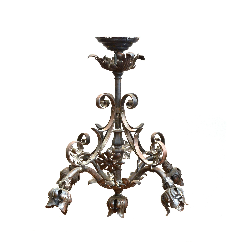 Antique Wrought Iron Foliate Chandelier